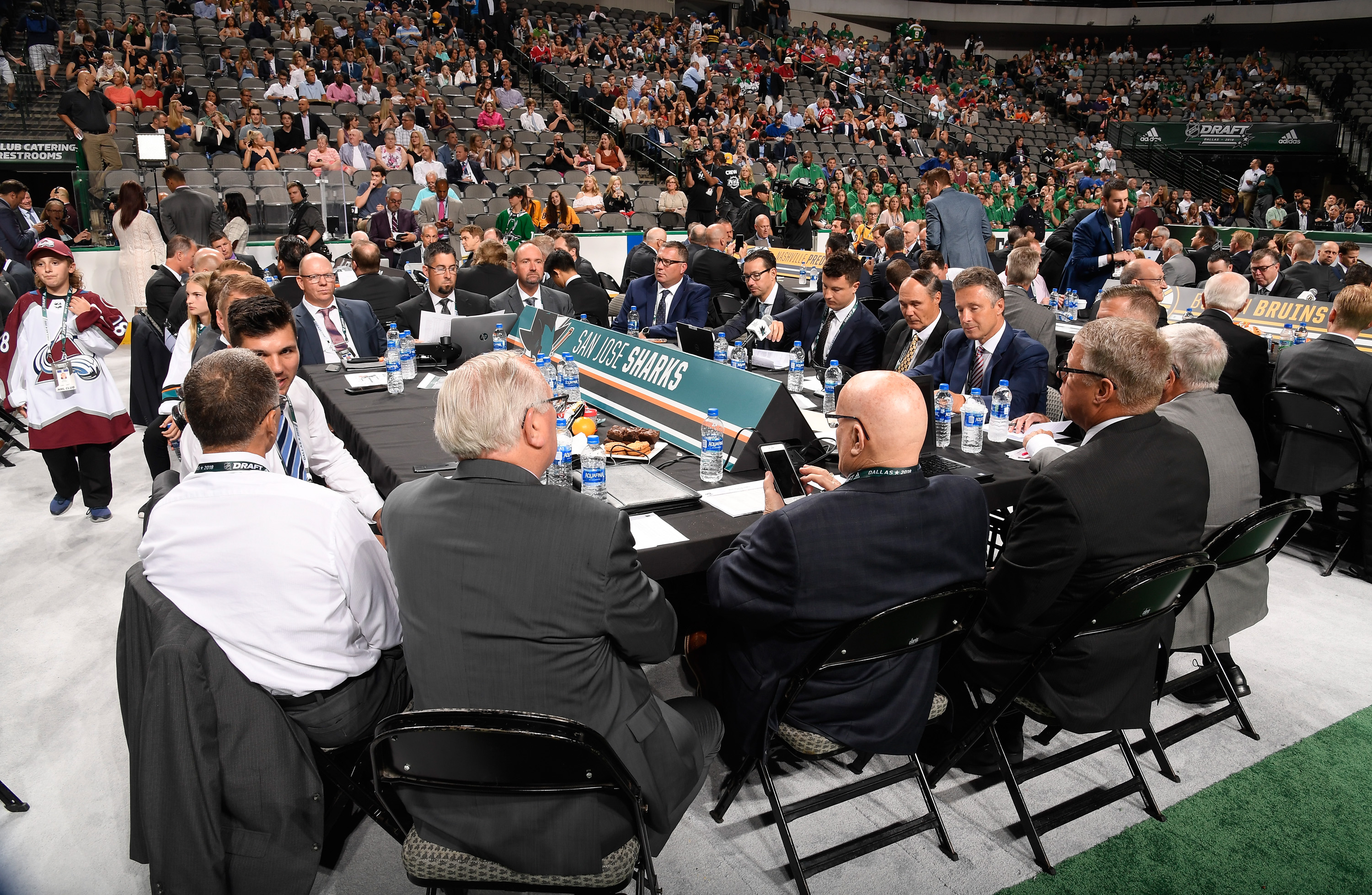 DALLAS, TX - JUNE 22: A general view of the San Jose Sharks draft table is seen during the first round of the 2018 NHL Draft at American Airlines Center on June 22, 2018 in Dallas, Texas.