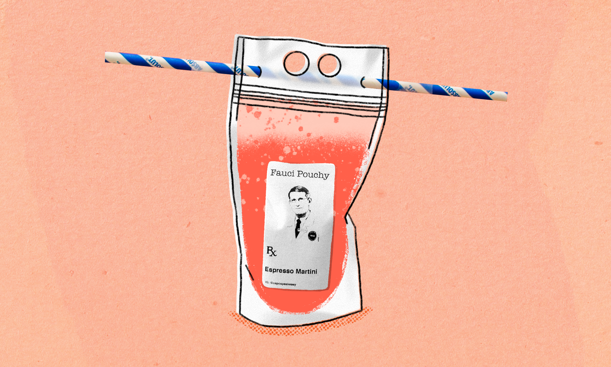 An illustration of a Fauci Pouchy with a straw stuck through the top