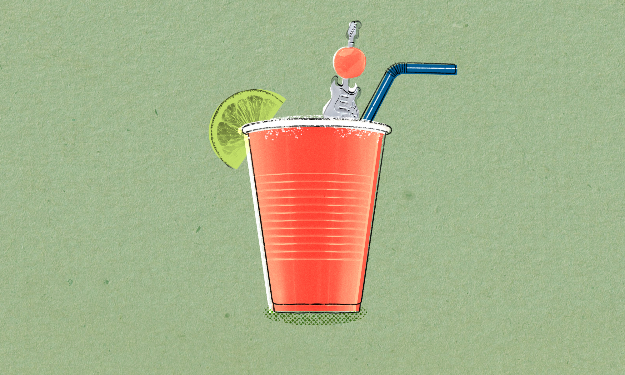 illustration of a red plastic cup with a blue straw, a lime wedge perched on the rim, and a skewer in the shape of a electric guitar coming out of the cup with a cherry on the top