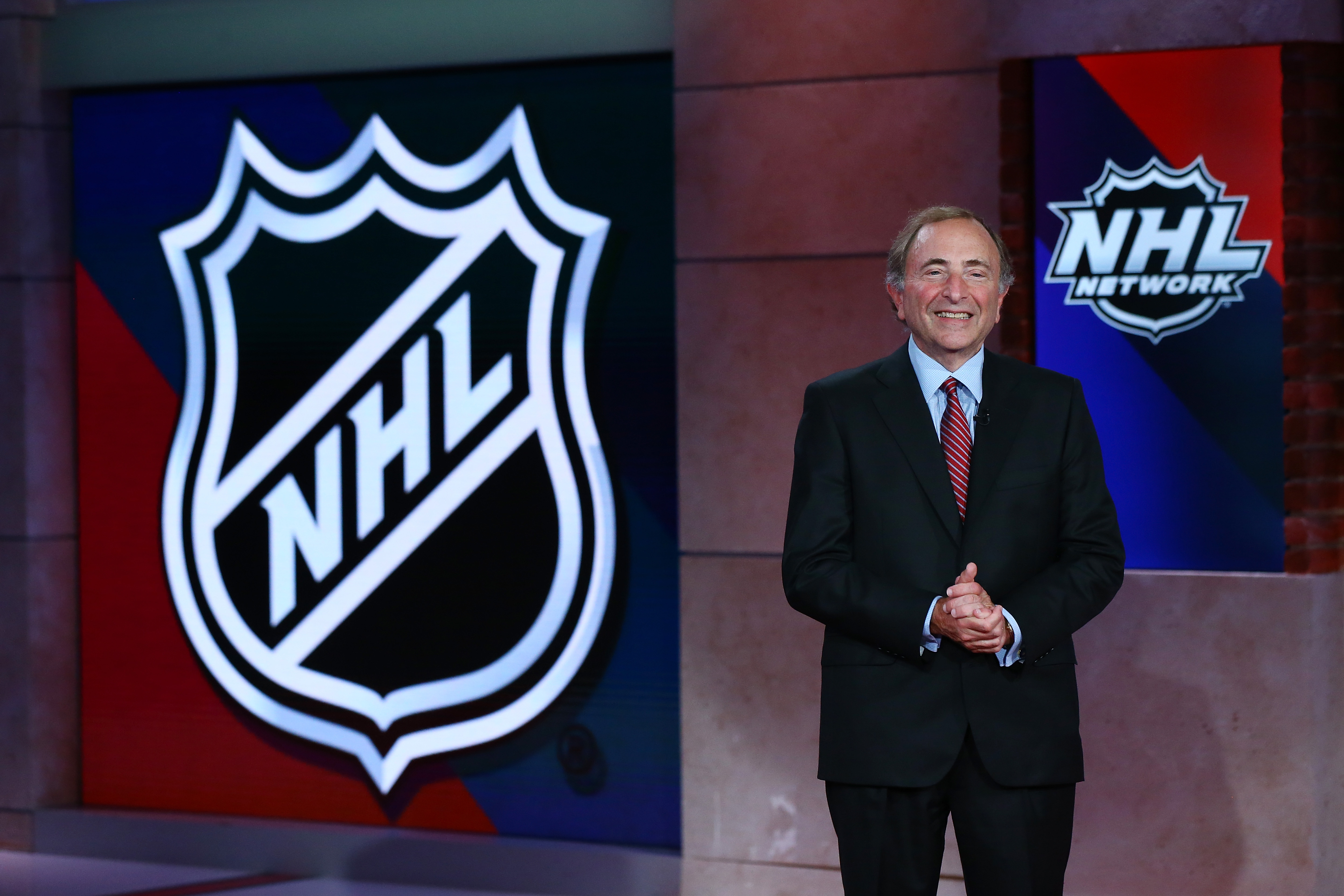 SECAUCUS, NEW JERSEY - AUGUST 10: Commissioner of the National Hockey League Gary Bettman is interviewed during Phase 2 of the 2020 NHL Draft Lottery on August 10, 2020 at the NHL Network's studio in Secaucus, New Jersey.