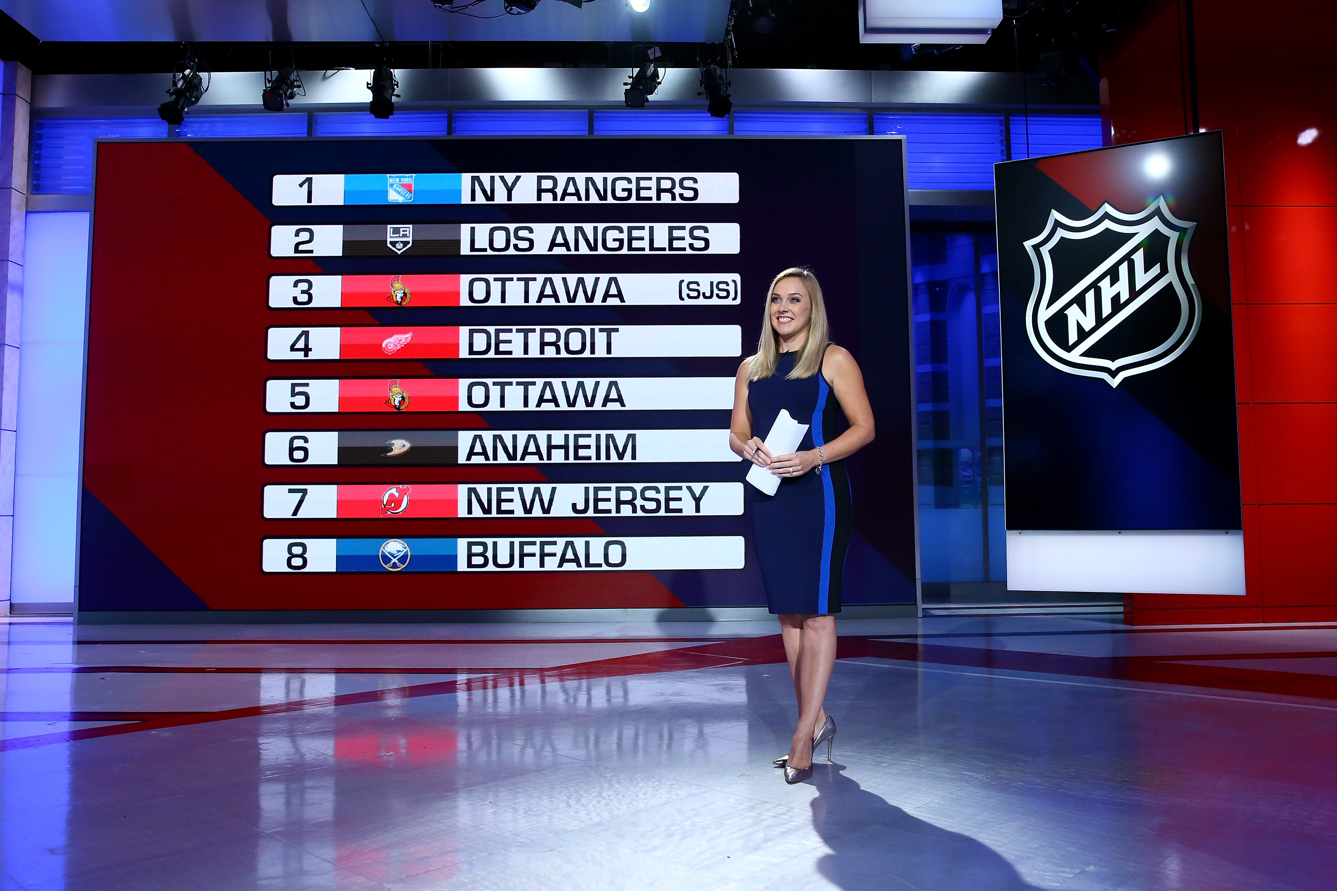 SECAUCUS, NEW JERSEY - AUGUST 10: 2020 NHL Network studio host Jamie Hersch is seen with the NHL draft positions board during Phase 2 of the 2020 NHL Draft Lottery on August 10, 2020 at the NHL Network's studio in Secaucus, New Jersey.