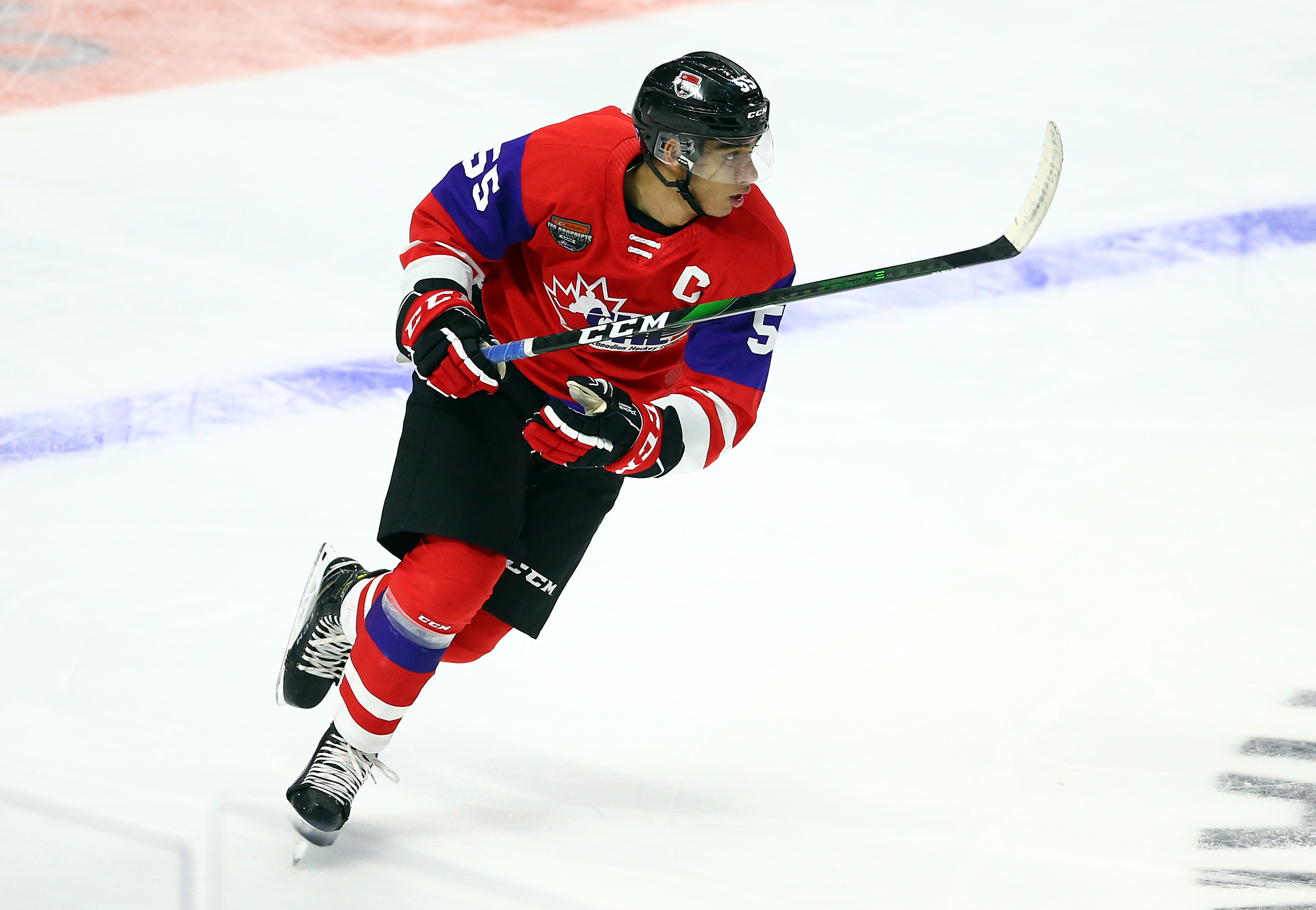 HAMILTON, ON - JANUARY 16: Quinton Byfield #55 of Team Red skates during the 2020 CHL/NHL Top Prospects Game against Team White at FirstOntario Centre on January 16, 2020 in Hamilton, Canada.