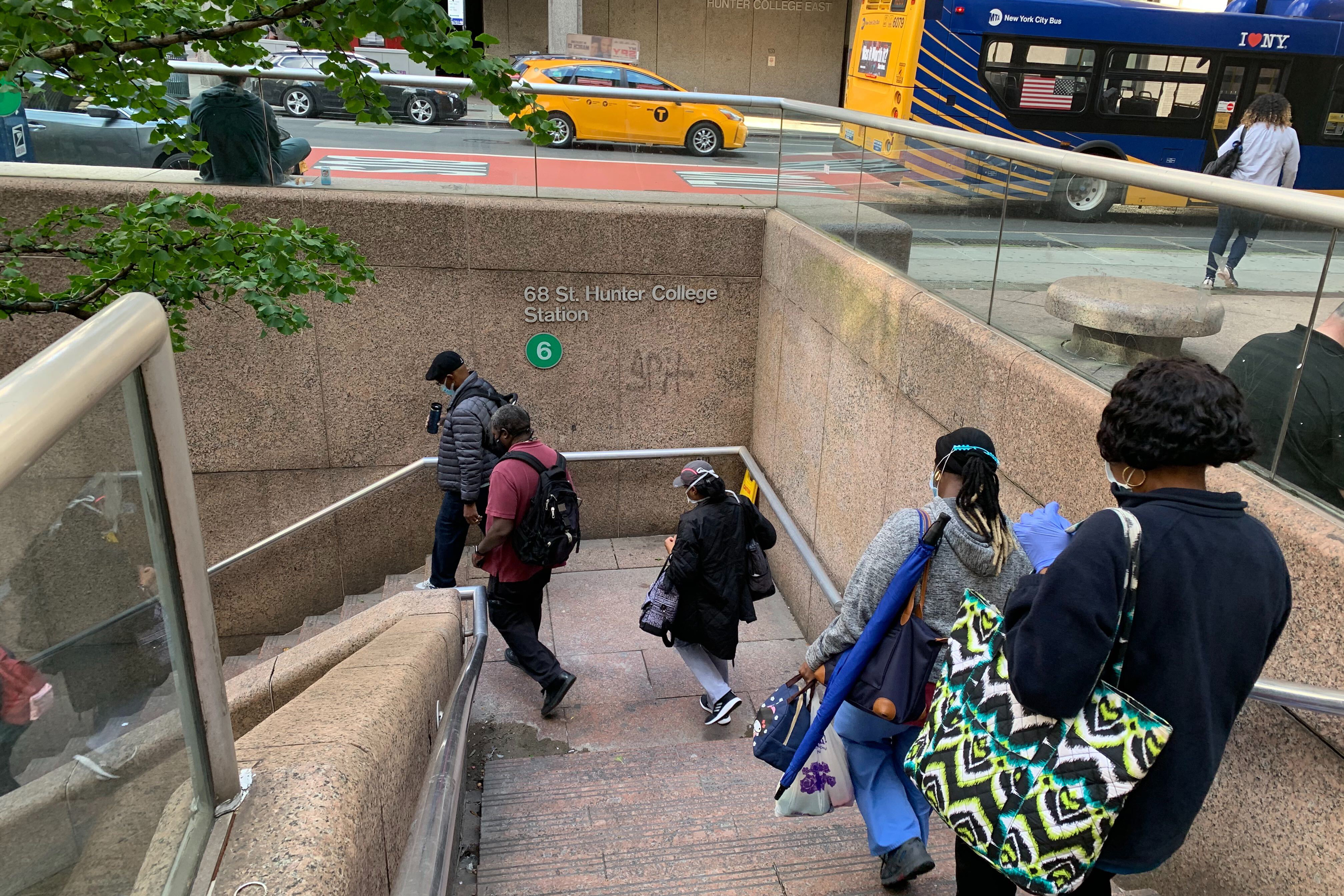 The stairs at the Hunter College station in the Upper East Side, Sept. 30, 2020.