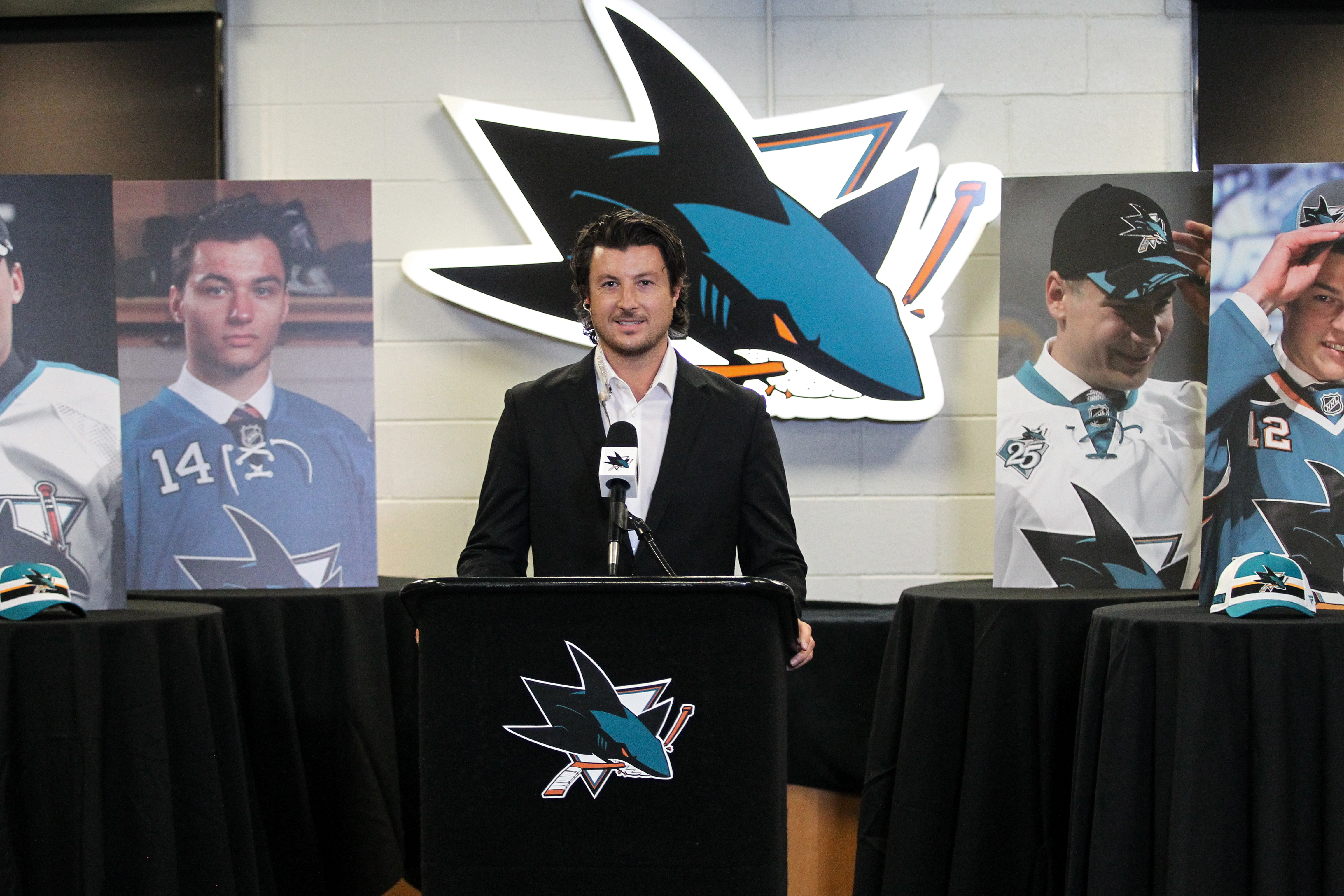 SAN JOSE, CA - OCTOBER 06: San Jose Sharks Director of Scouting Doug Wilson Jr. announces forward Ozzy Weisblatt as the 31st overall pick during Round One of the San Jose Sharks 2020 NHL Draft at SAP Center on October 06, 2020 in San Jose, California. The 2020 NHL Draft was held virtually due to the ongoing Coronavirus pandemic.