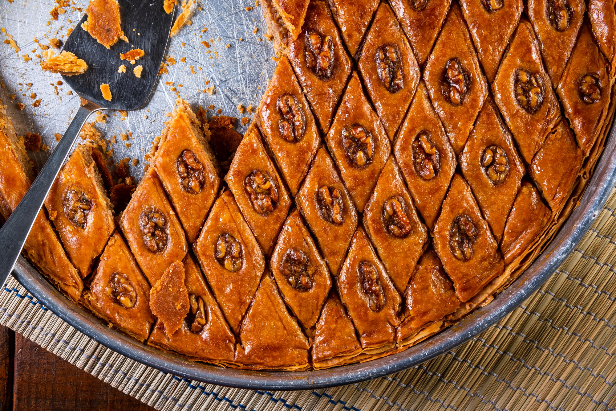Making one tray of pakhlava at Sharbat can take up to four hours.