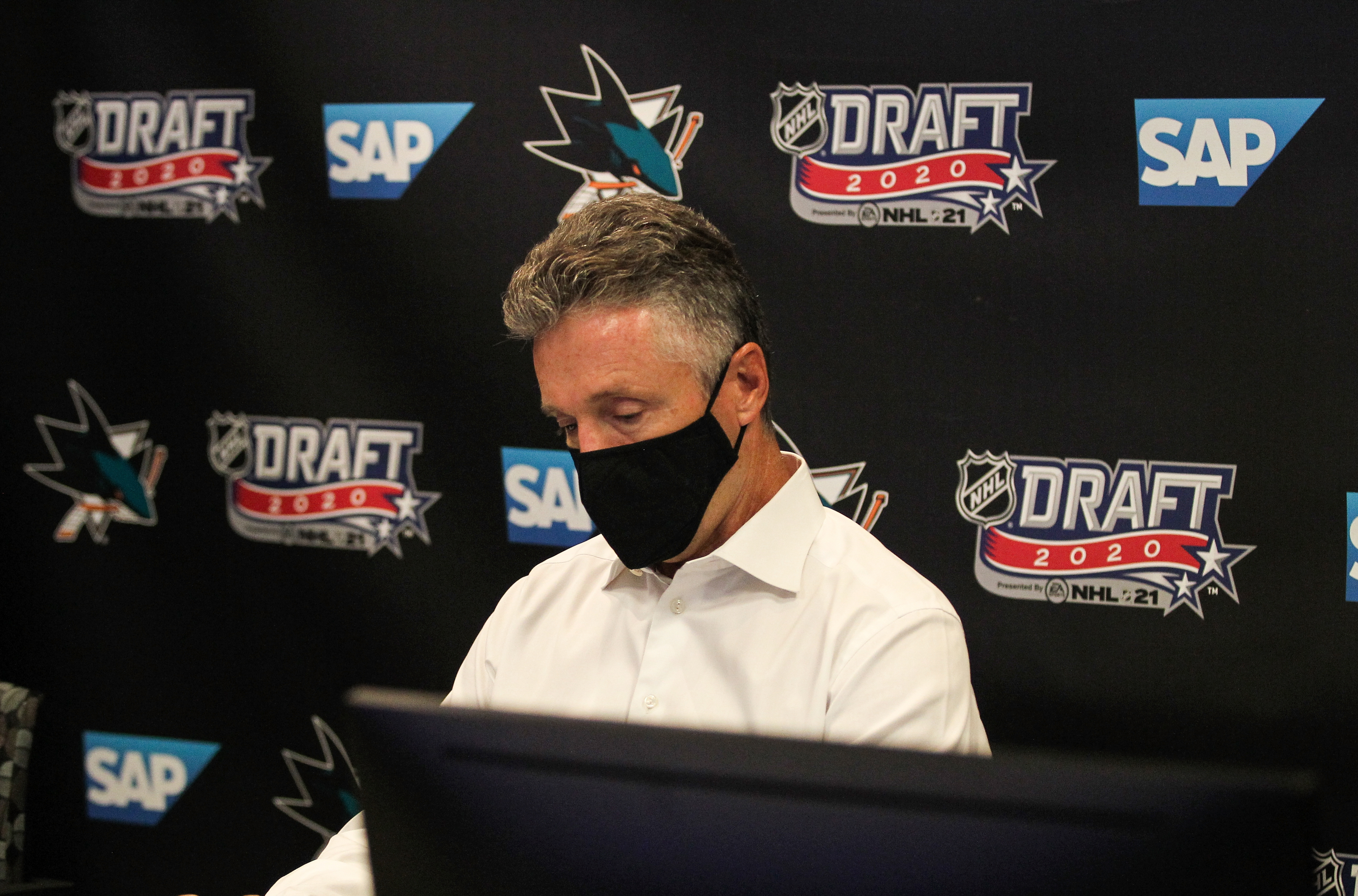 SAN JOSE, CA - OCTOBER 06: San Jose Sharks General Manager Doug Wilson prepares before Round One of the 2020 NHL Draft on October 6, 2020 at SAP Center in San Jose, California. The 2020 NHL Draft was held virtually due to the ongoing Coronavirus pandemic.