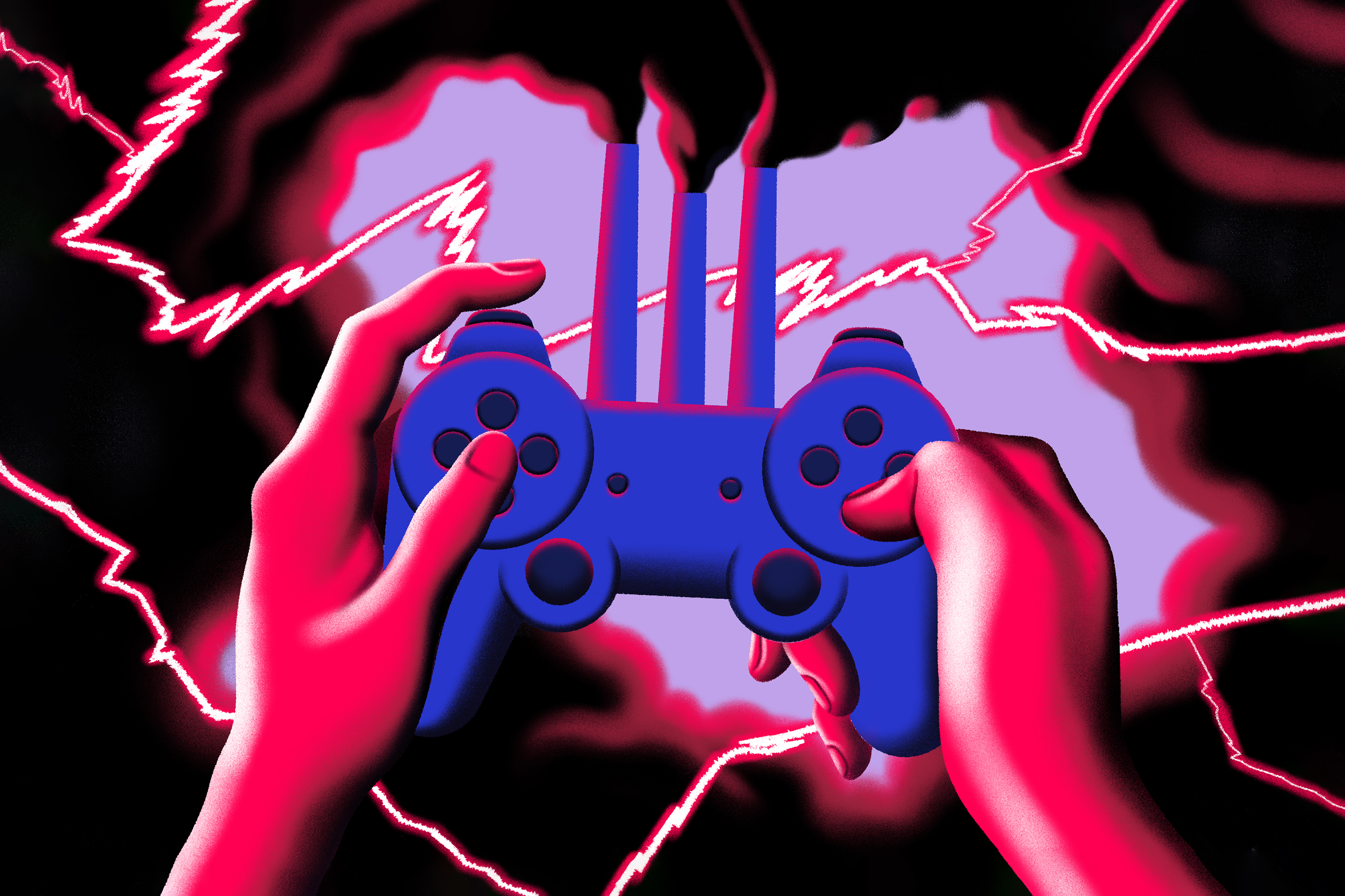 Two hands hold a controller with smoke stacks emanating from the top of the device. Black smoke spews out the top, flooding the stormy air with dark clouds. Neon pink lightening breaks the sky. Illustration.
