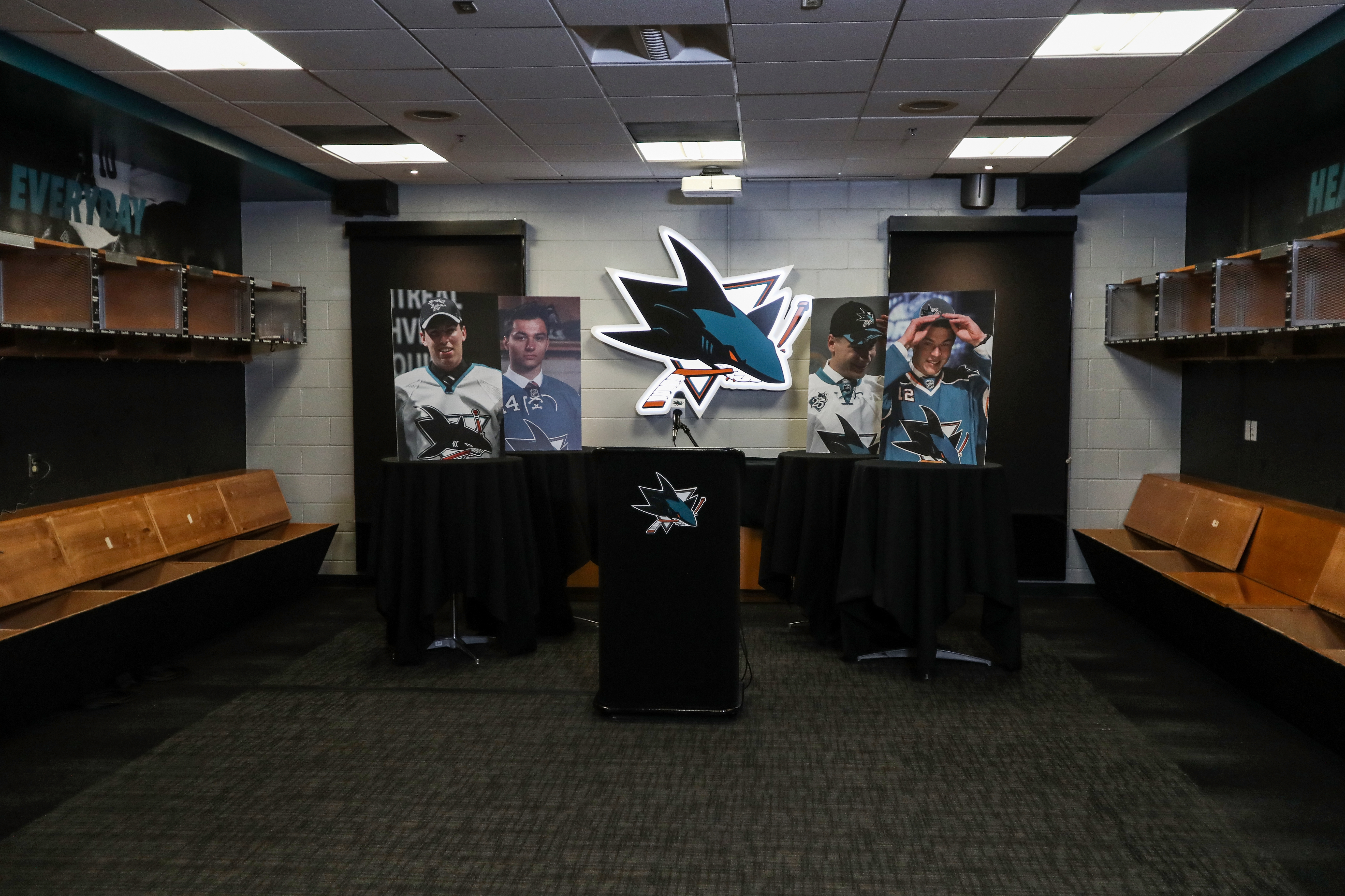 A general view of the podium in the San Jose Sharks locker room at SAP Center on October 6, 2020 in San Jose, California. The 2020 NHL Draft was held virtually due to the ongoing Coronavirus pandemic.