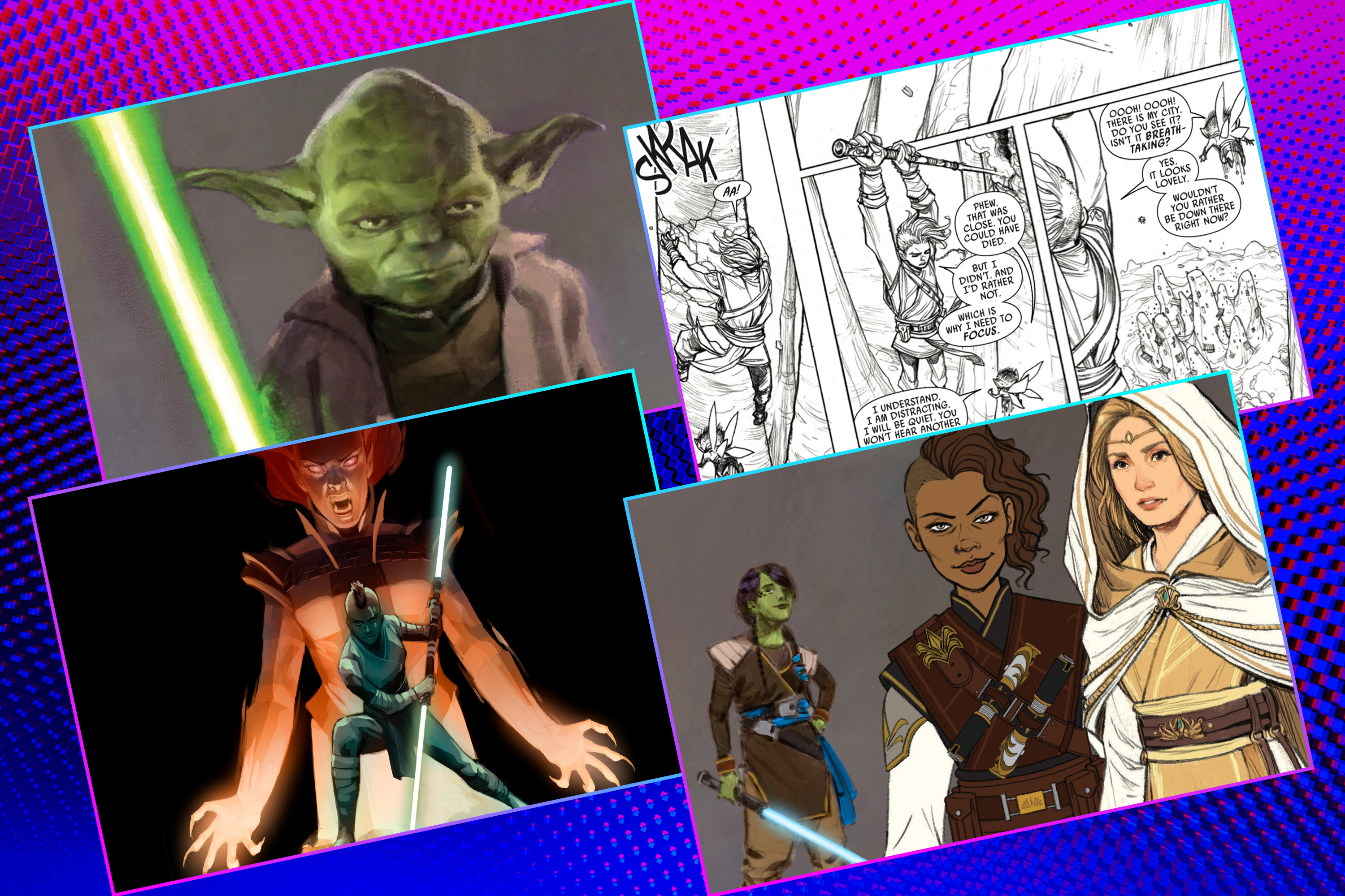 Graphic grid of four rectangles on bright purple blue background with various pieces of Star Wars concept art
