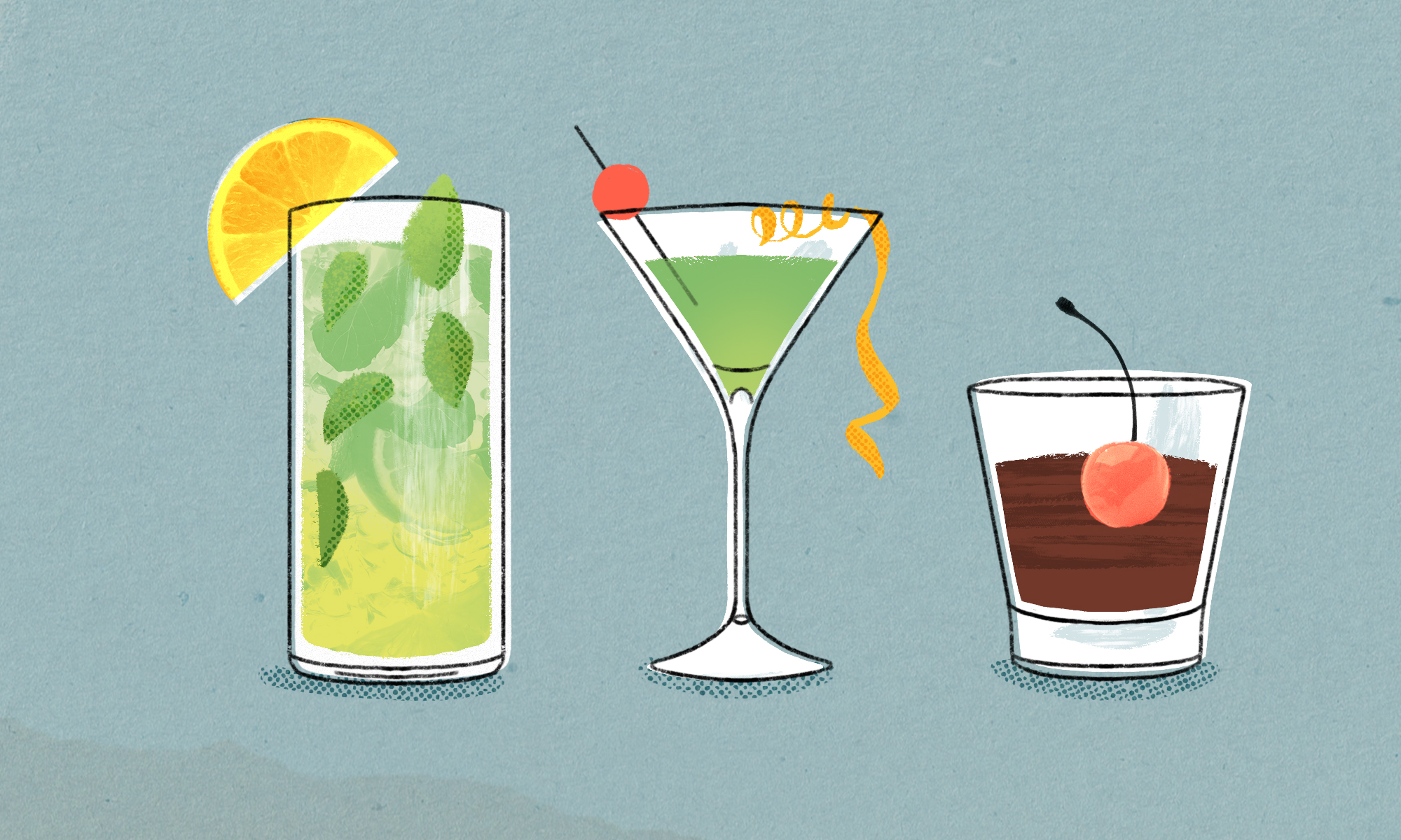 Illustration of three drink glasses: a tall Collins glass containing a green and yellow drink with mint leaves, a martini glass containing a green drink and a curly orange peel, and a short glass containing brown liquid and a cherry floating in it