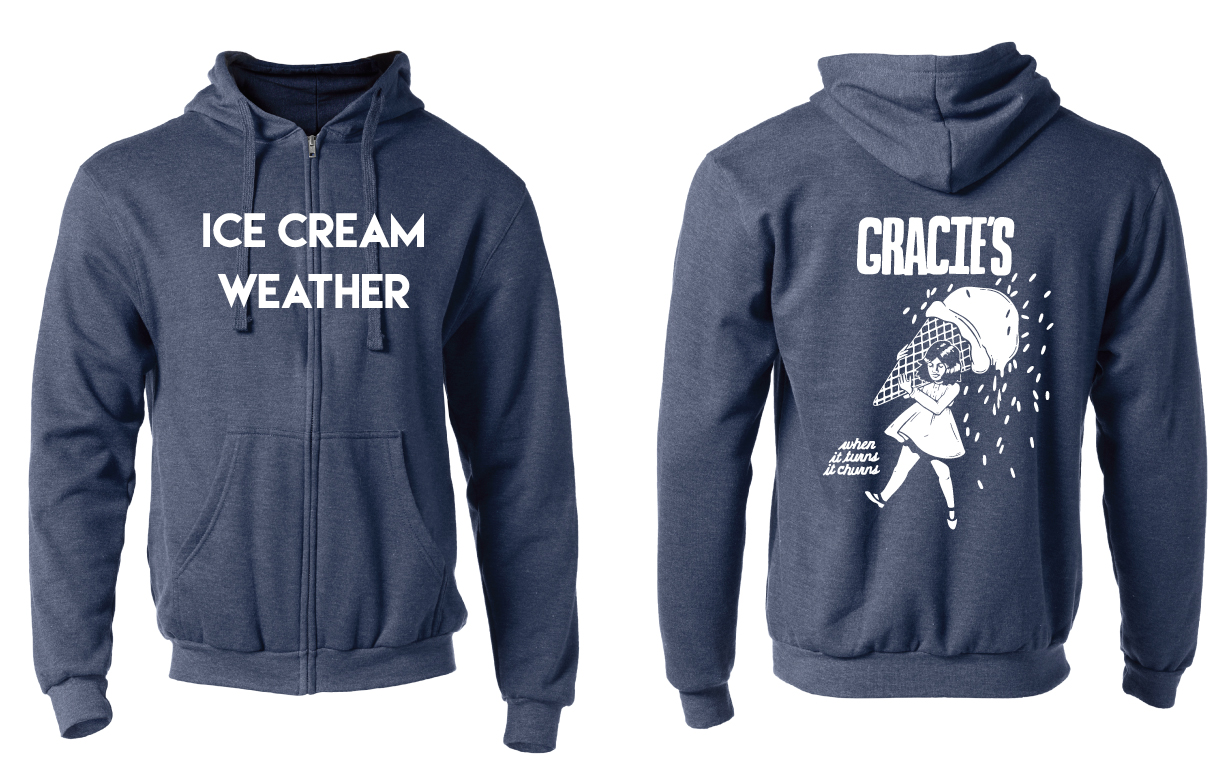 """Front and back views of a navy blue zip-up sweatshirt with """"ice cream weather"""" written on the front and a version of the Morton Salt girl on the back"""