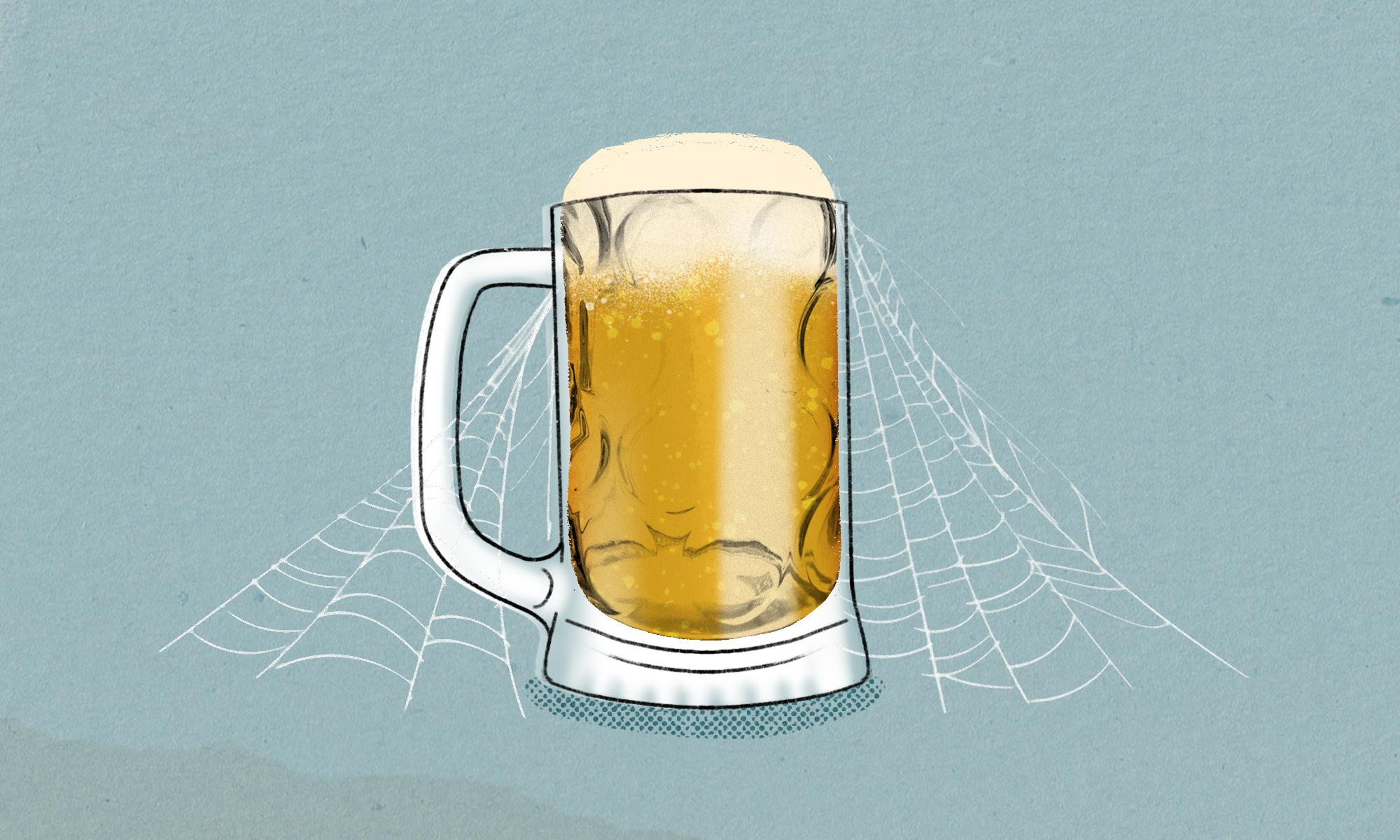 illustration of full beer mug with cobwebs draped over it