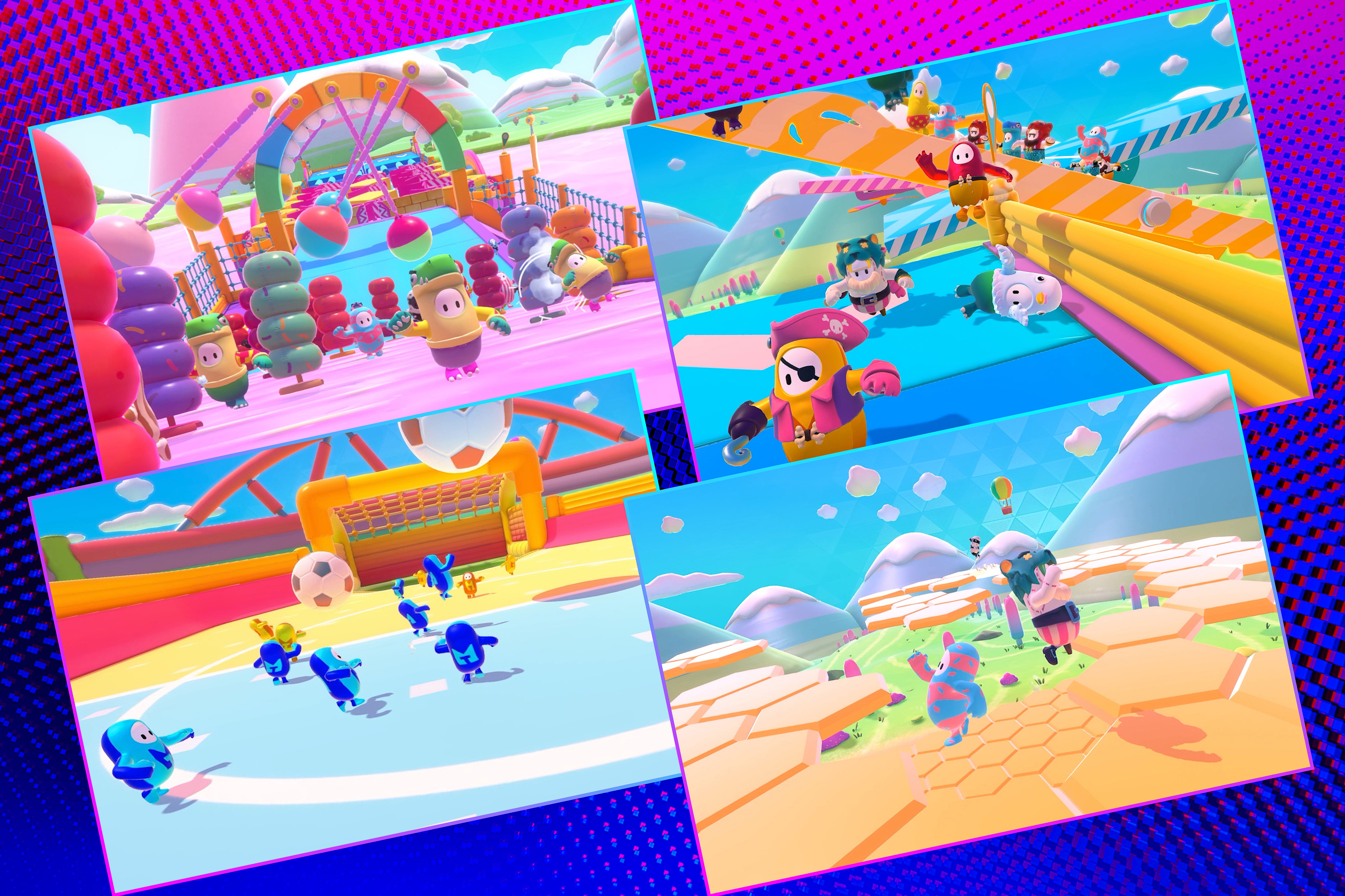 Graphic grid of four rectangles on bright purple blue background with various screen images from the Fall Guys video game