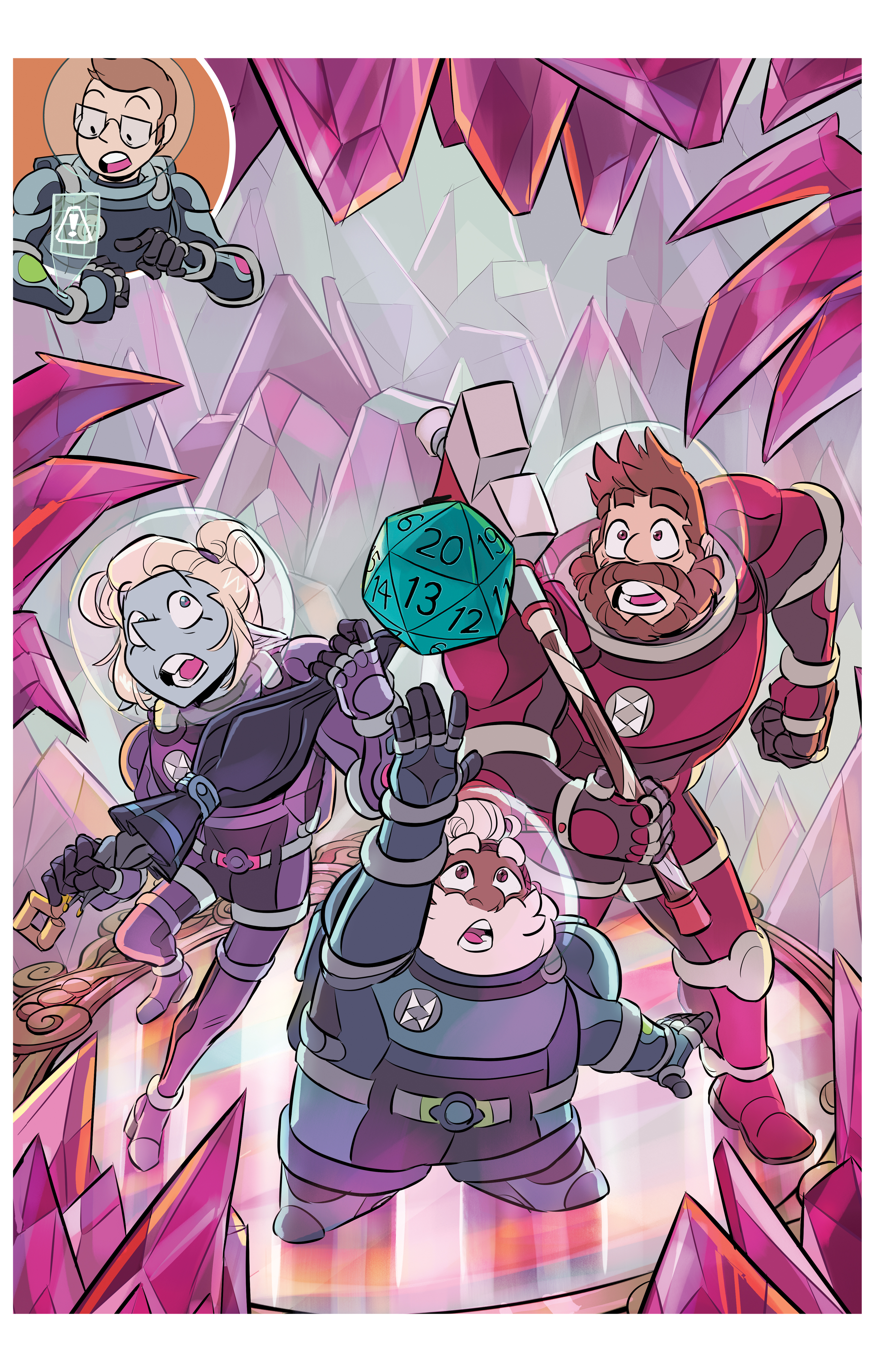 Taako, Merle, and Magnus are pursuing a d20 surrounded by pink tourmaline crystals. The three of them are wearing protective suits with glass helmets, standing on a pink tourmaline mirror.