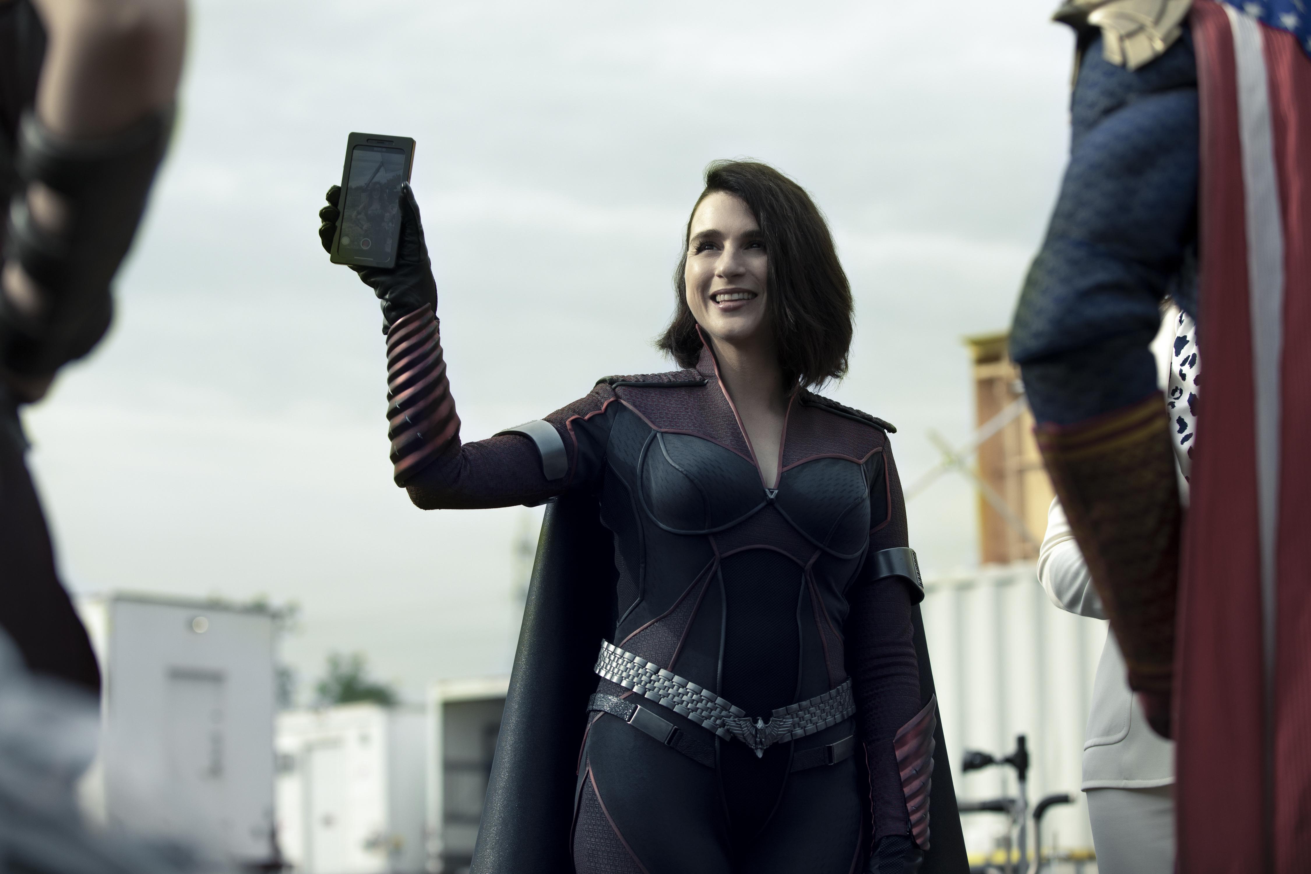 Stormfront holds up her social media phone on The Boys season 2