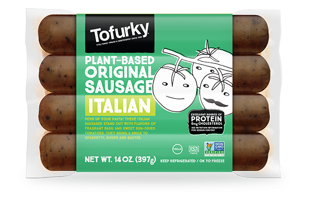 A package of Tofurky brand plant-based Italian sausage.