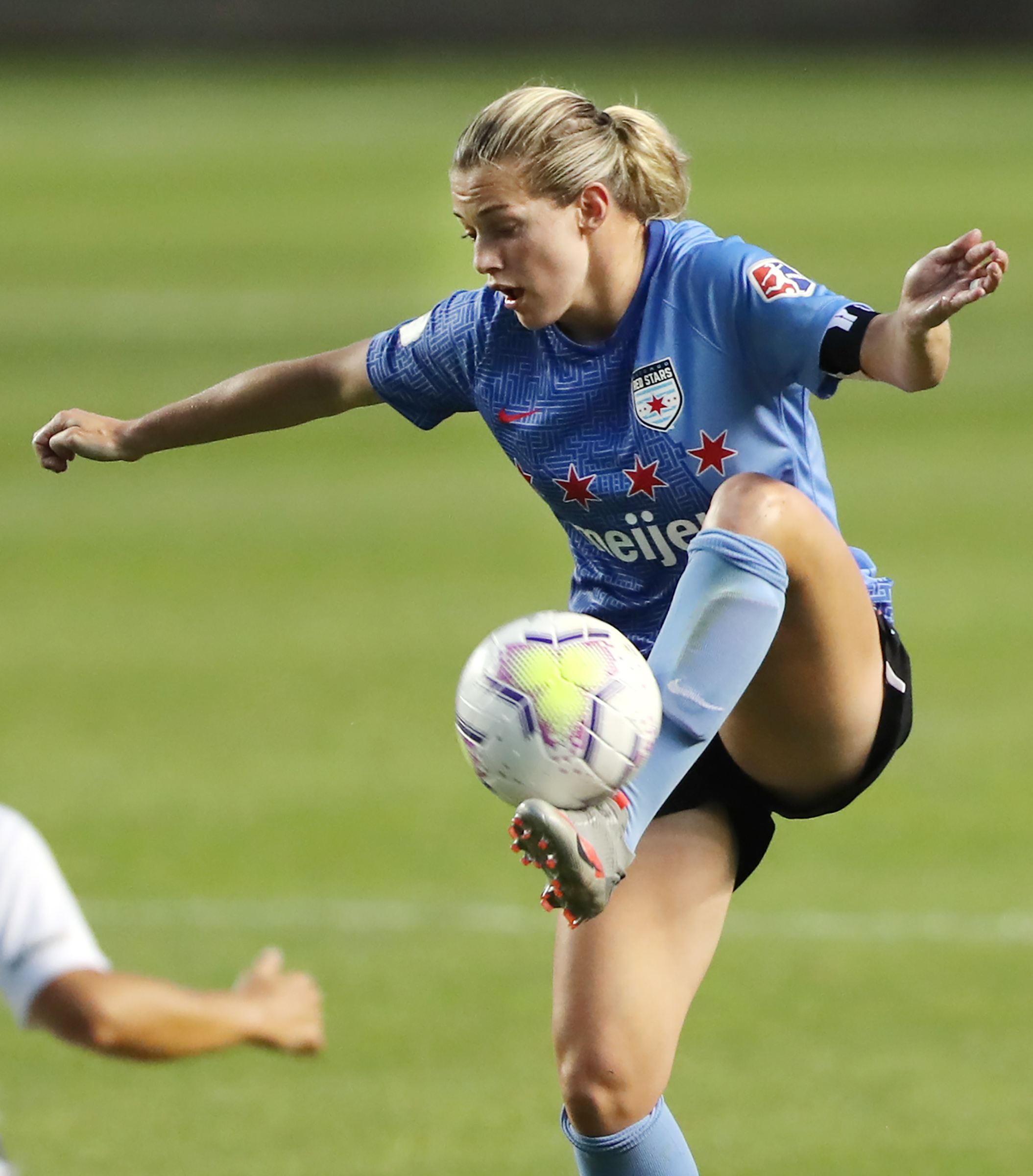 Chicago Red Stars forward Kealia Watt (2) controls the ball during play Sky Blue FC and Chicago Red Stars play in the semifinals of the NWSL Challenge Cup at Rio Tinto Stadium in Sandy on Wednesday, July 22, 2020. Chicago won 3-2.