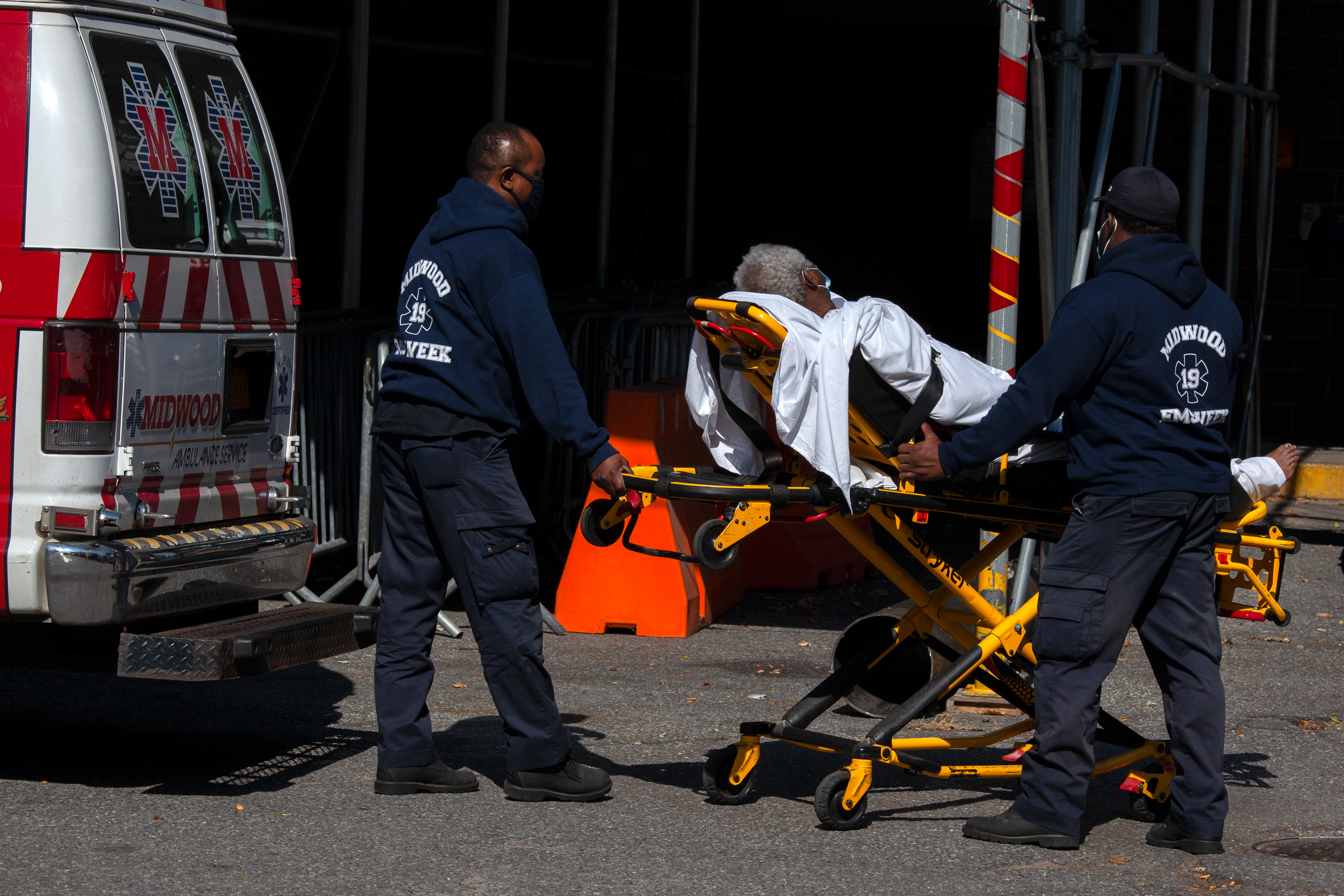 Midwood Emergency responders bring a patient to Brooklyn Hospital Center, Oct. 7, 2020.