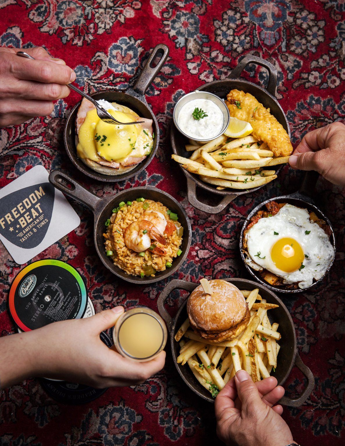 An overhead view of breakfast dishes