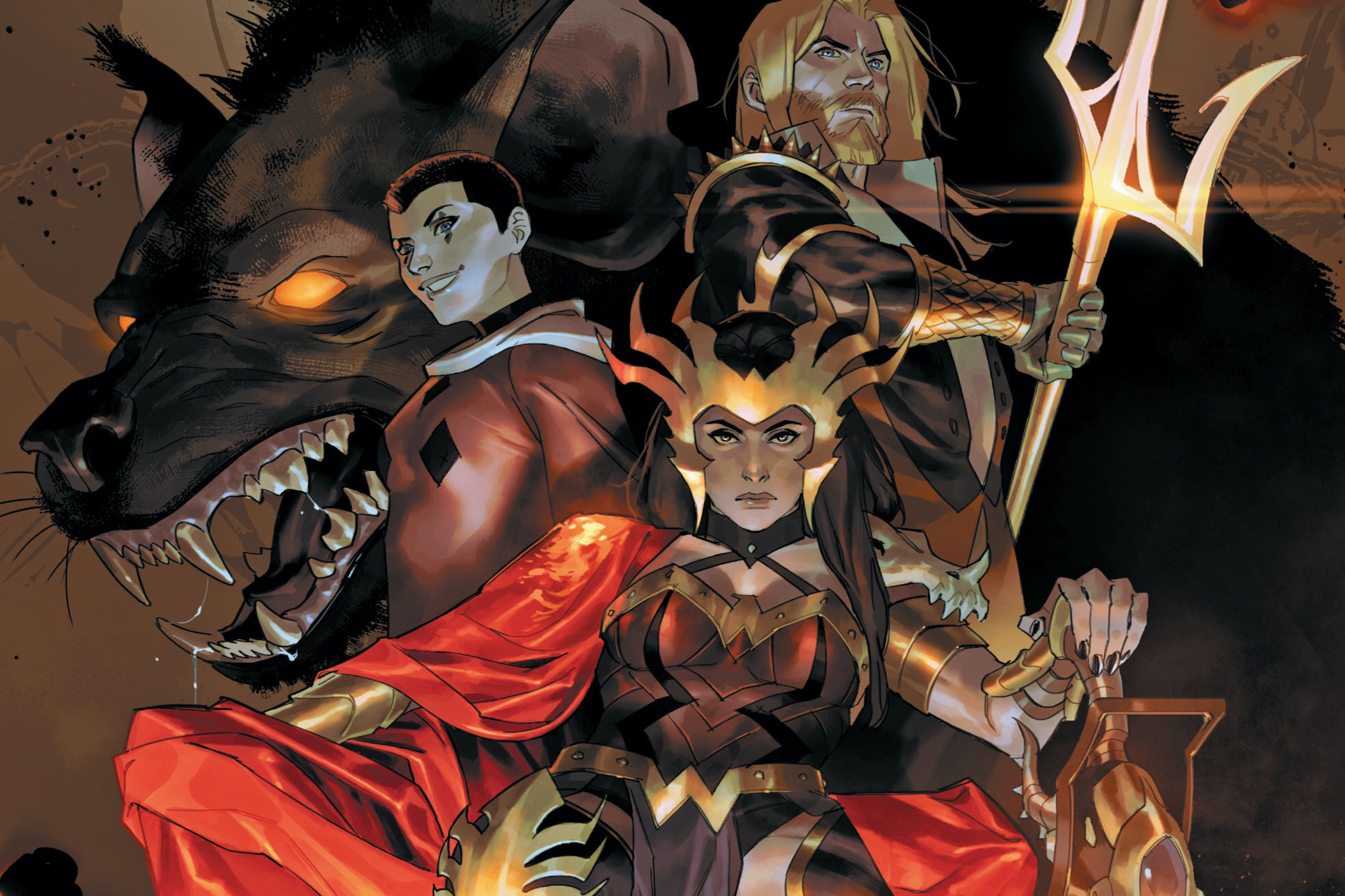 Wonder Woman sits enthroned, with Harley Quinn, Aquaman, and a massive hyena behind her, on the cover of Dark Nights: Death Metal Guidebook, DC Comics (2020).