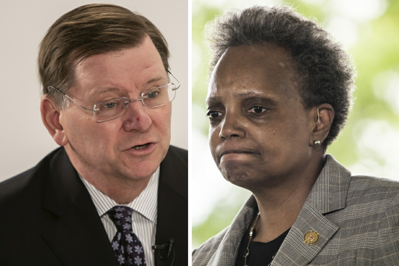 President of the Civic Federation Laurence Msall, left, in 2019; Mayor Lori Lightfoot, right, in June.