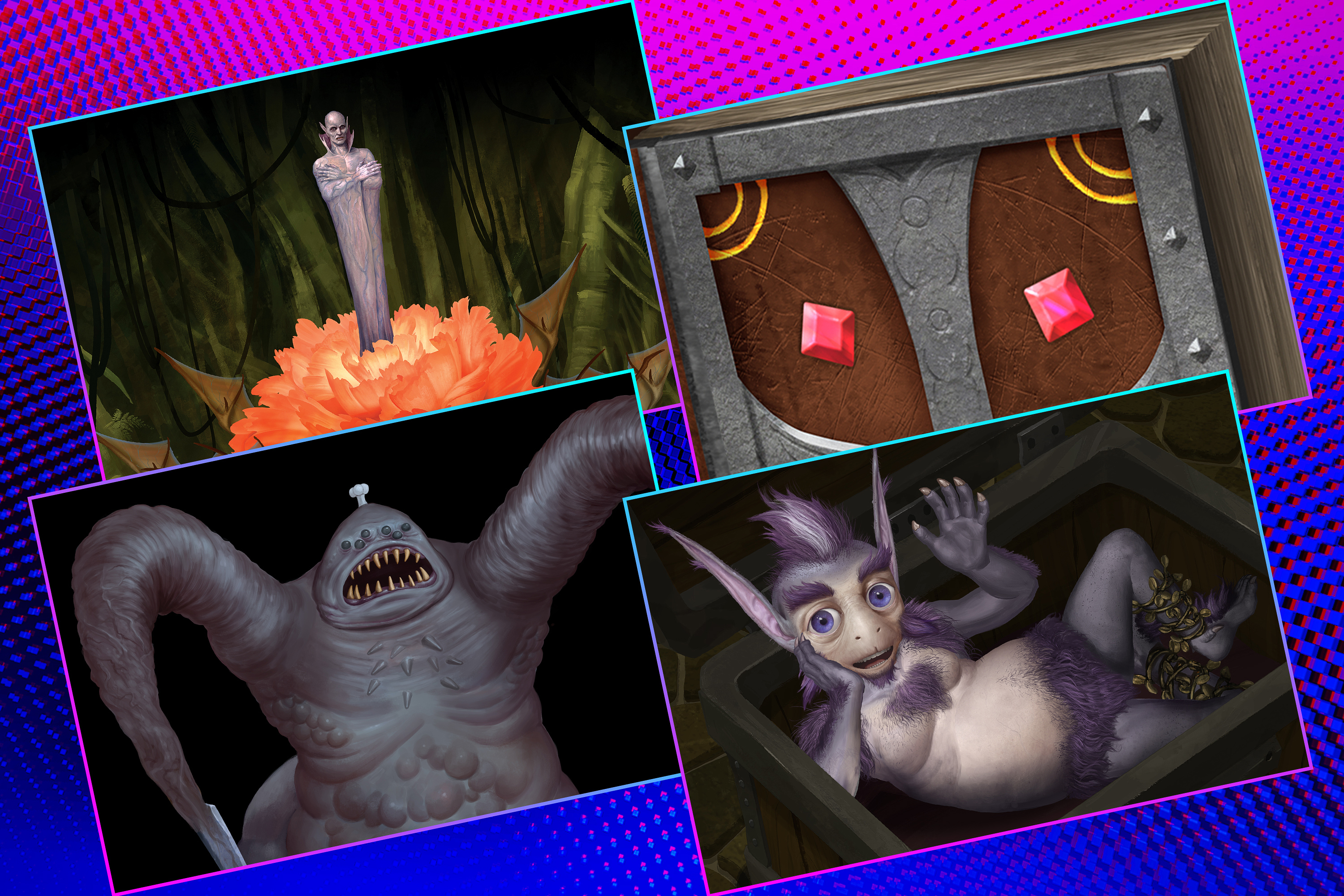 Graphic grid of four rectangles on bright purple blue background with various images from the game Tigtone
