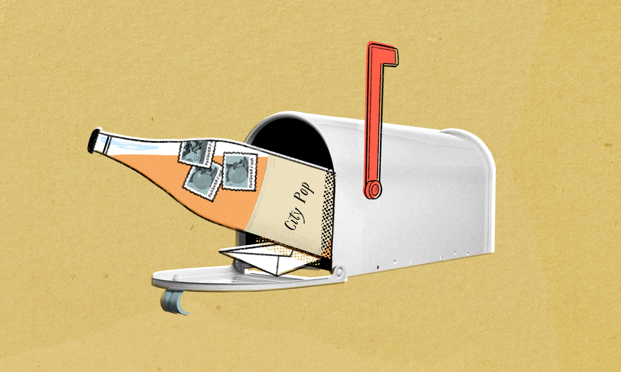 Drawing of a wine bottle coming out of a home mailbox