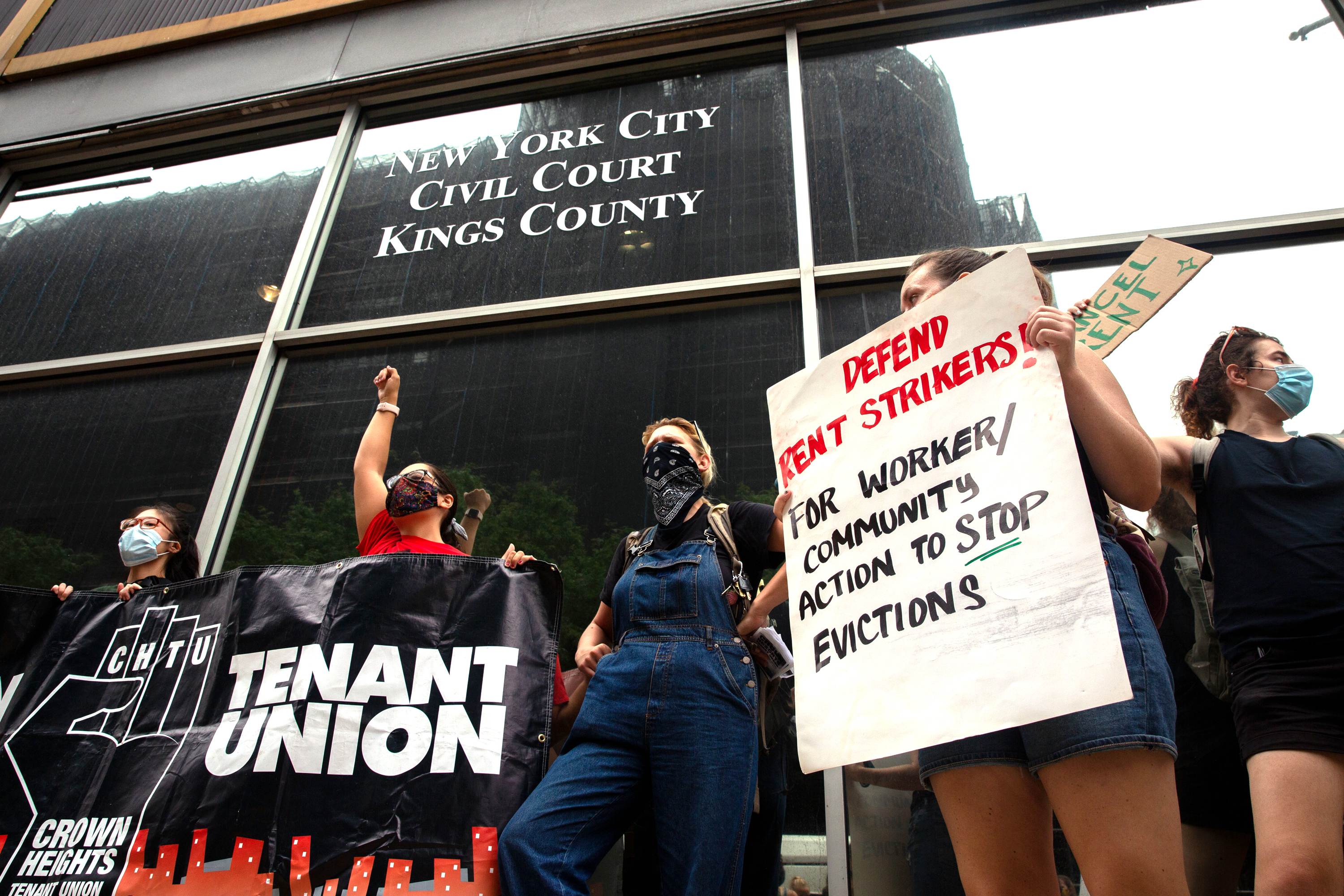 Protesters decry looming eviction proceedings at Brooklyn housing court, Aug. 6, 2020.