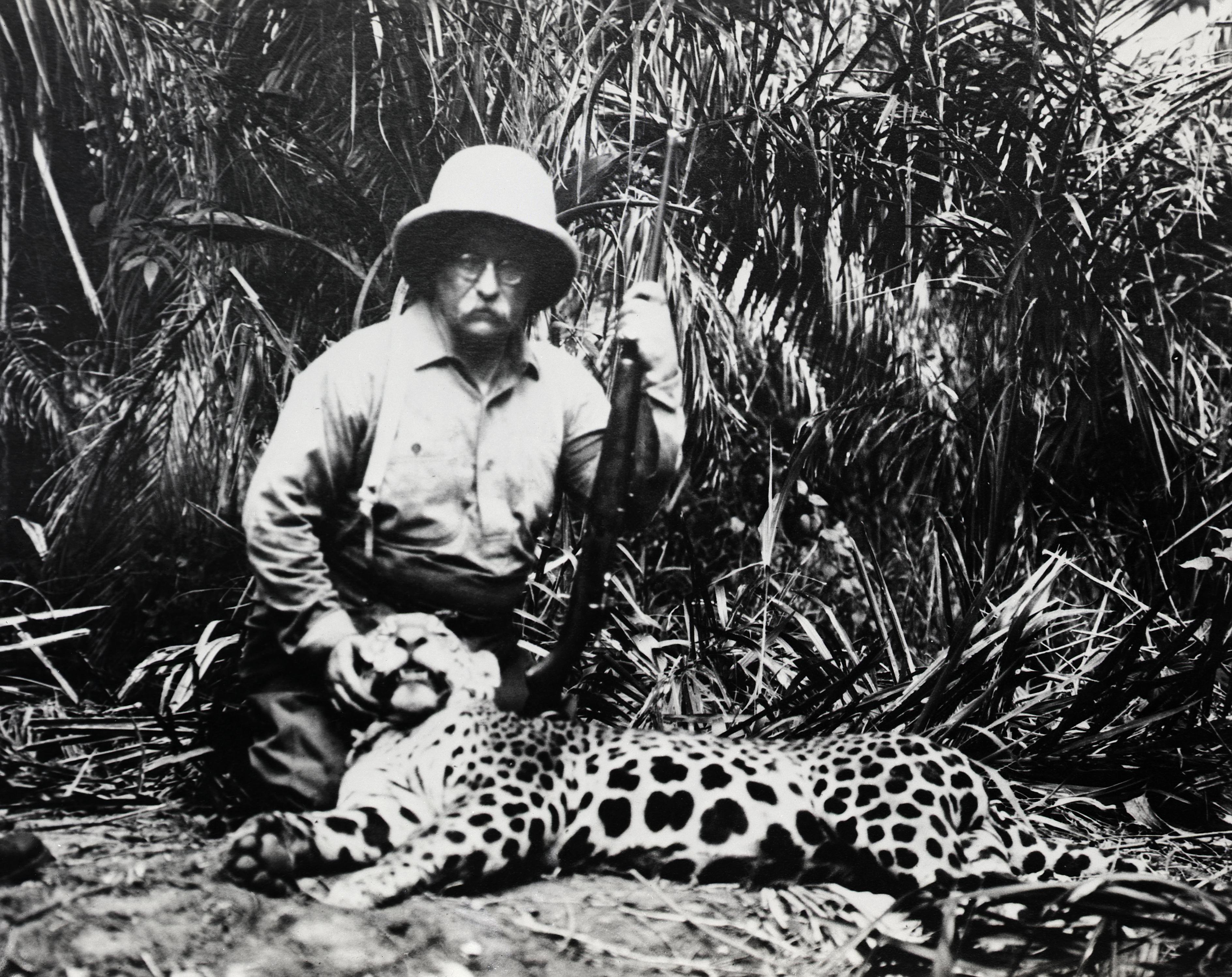 Theodore Roosevelt with Slain Jaguar