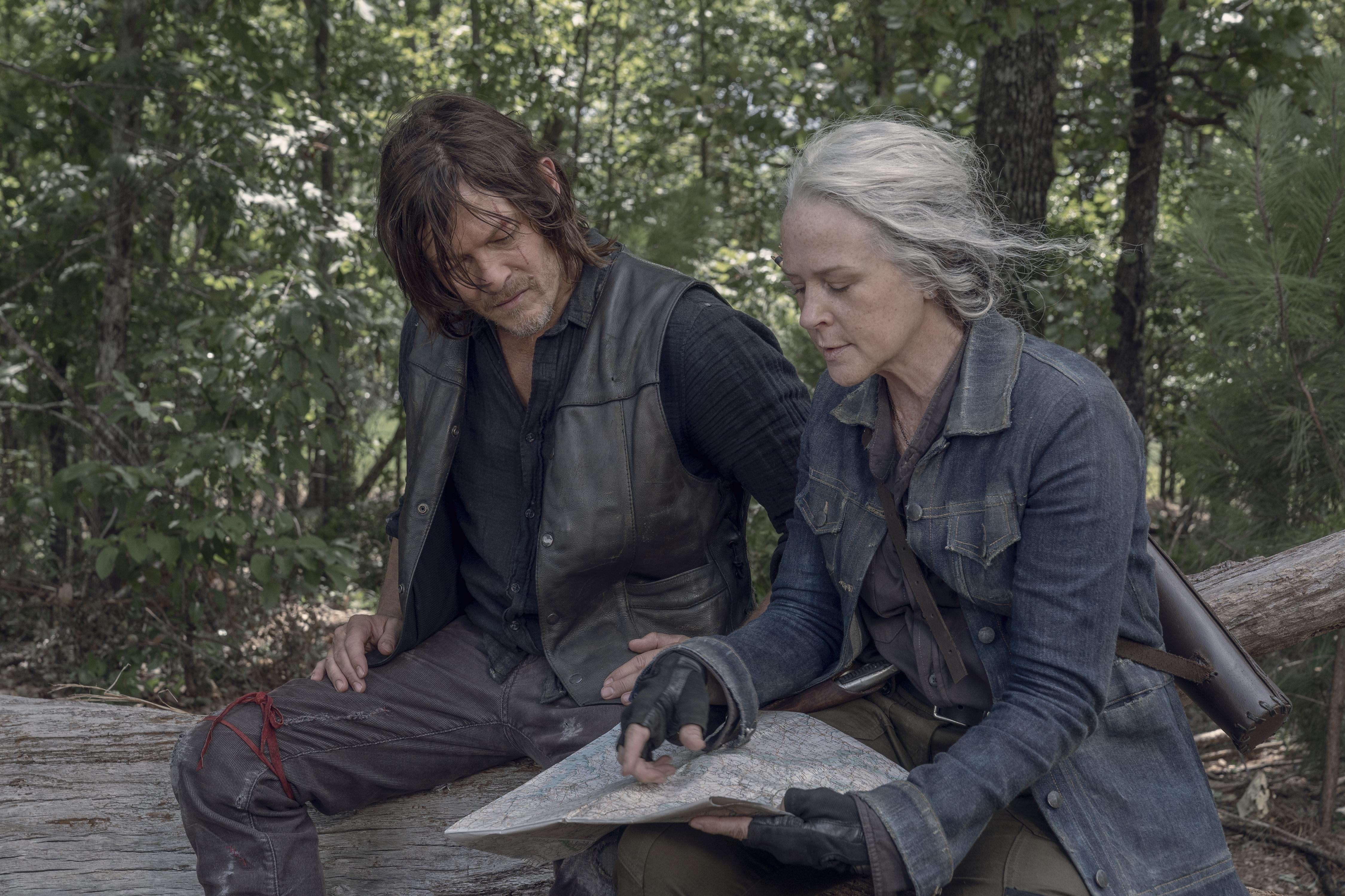 Norman Reedus as Daryl Dixon, Melissa McBride as Carol Peletier in The Walking Dead Season 10