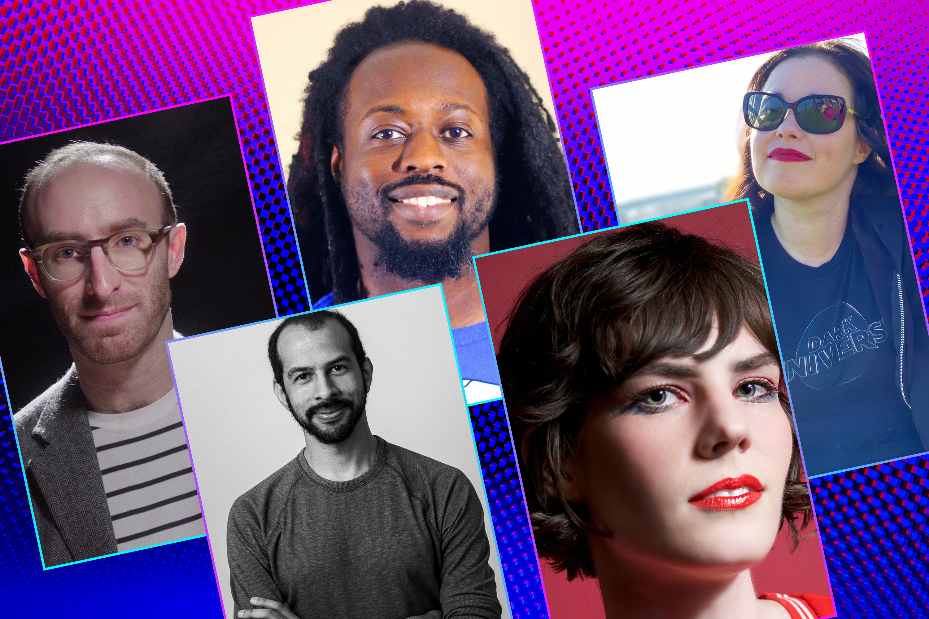 Graphic grid of five rectangles on bright purple blue background featuring five different headshots of men and women