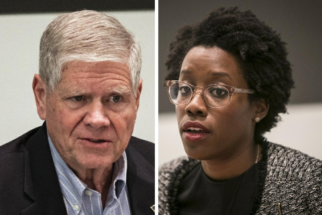 Jim Oberweis, left; Lauren Underwood, right.
