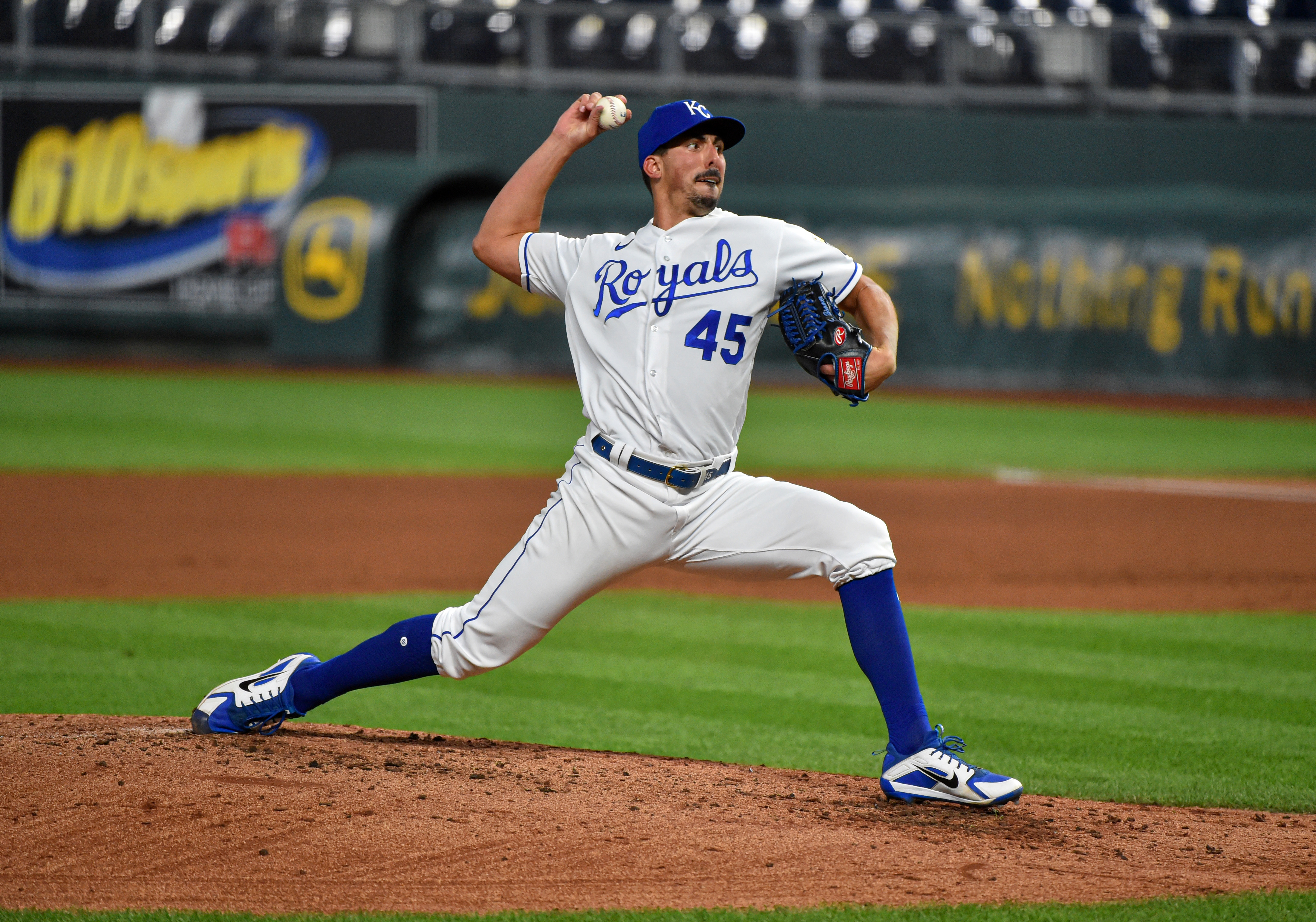 Relief pitcher Kyle Zimmer #45 of the Kansas City Royals throws in the fifth inning against the Cleveland Indians at Kauffman Stadium on September 02, 2020 in Kansas City, Missouri.