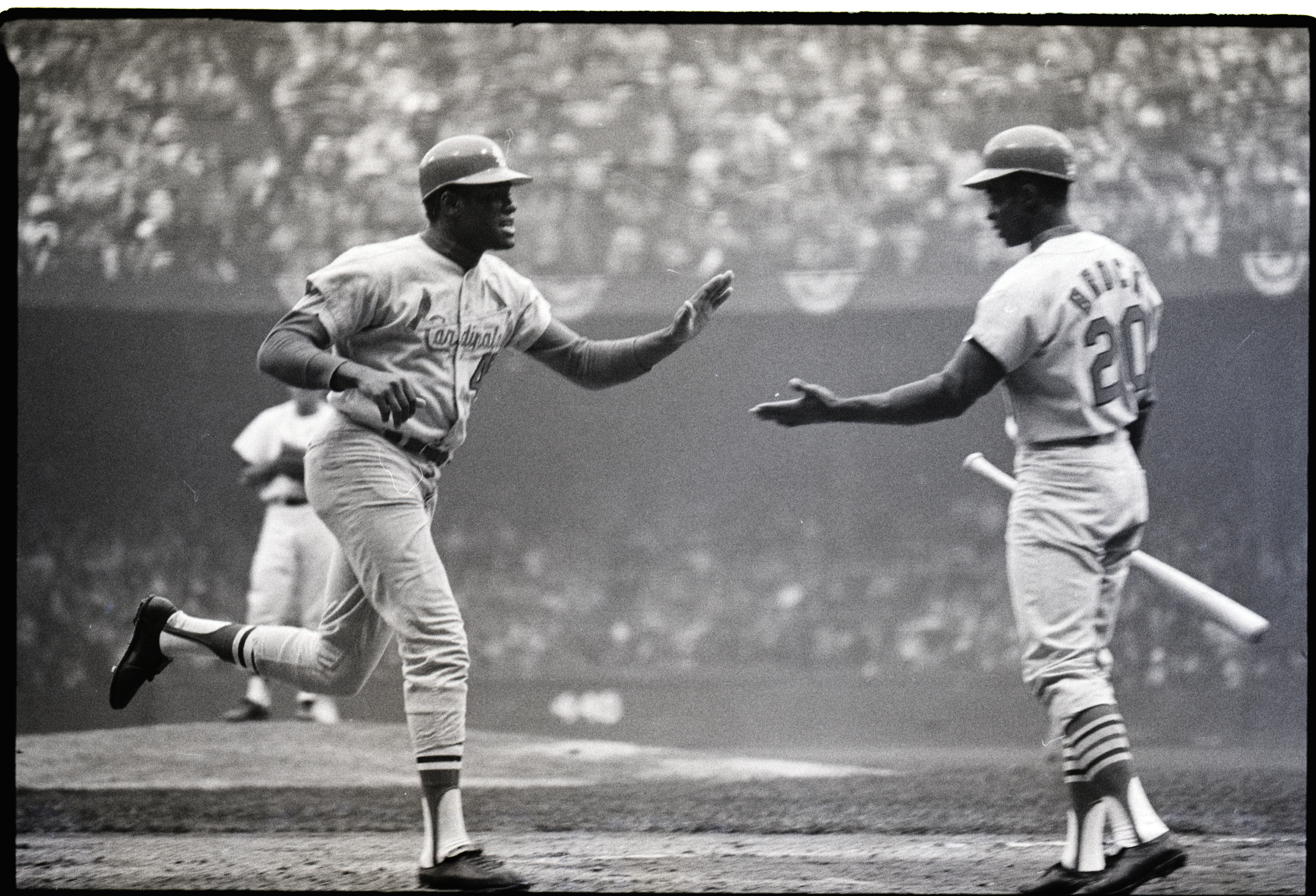 Bob Gibson And Lou Brock At Home Base