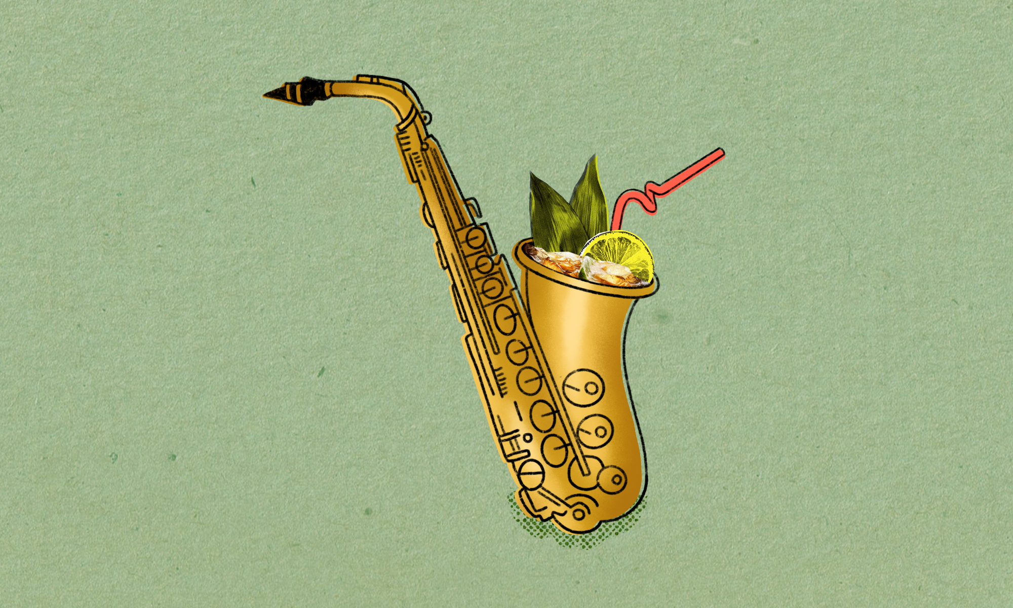 Drawing of a saxophone with a cocktail, including a lime wedge and a straw, in the opening of the horn