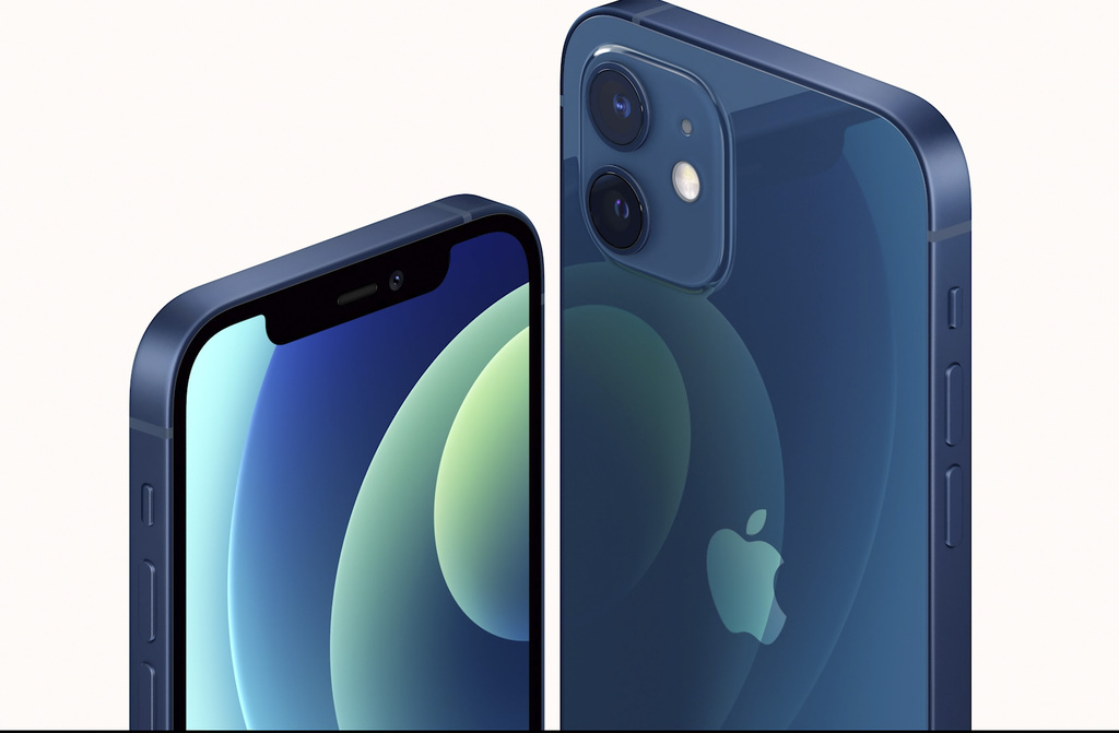 This image provided by Apple shows one of the new iPhone 12 equipped with technology for use with faster new 5G wireless networks that Apple unveiled Tuesday, Oct. 13, 2020.