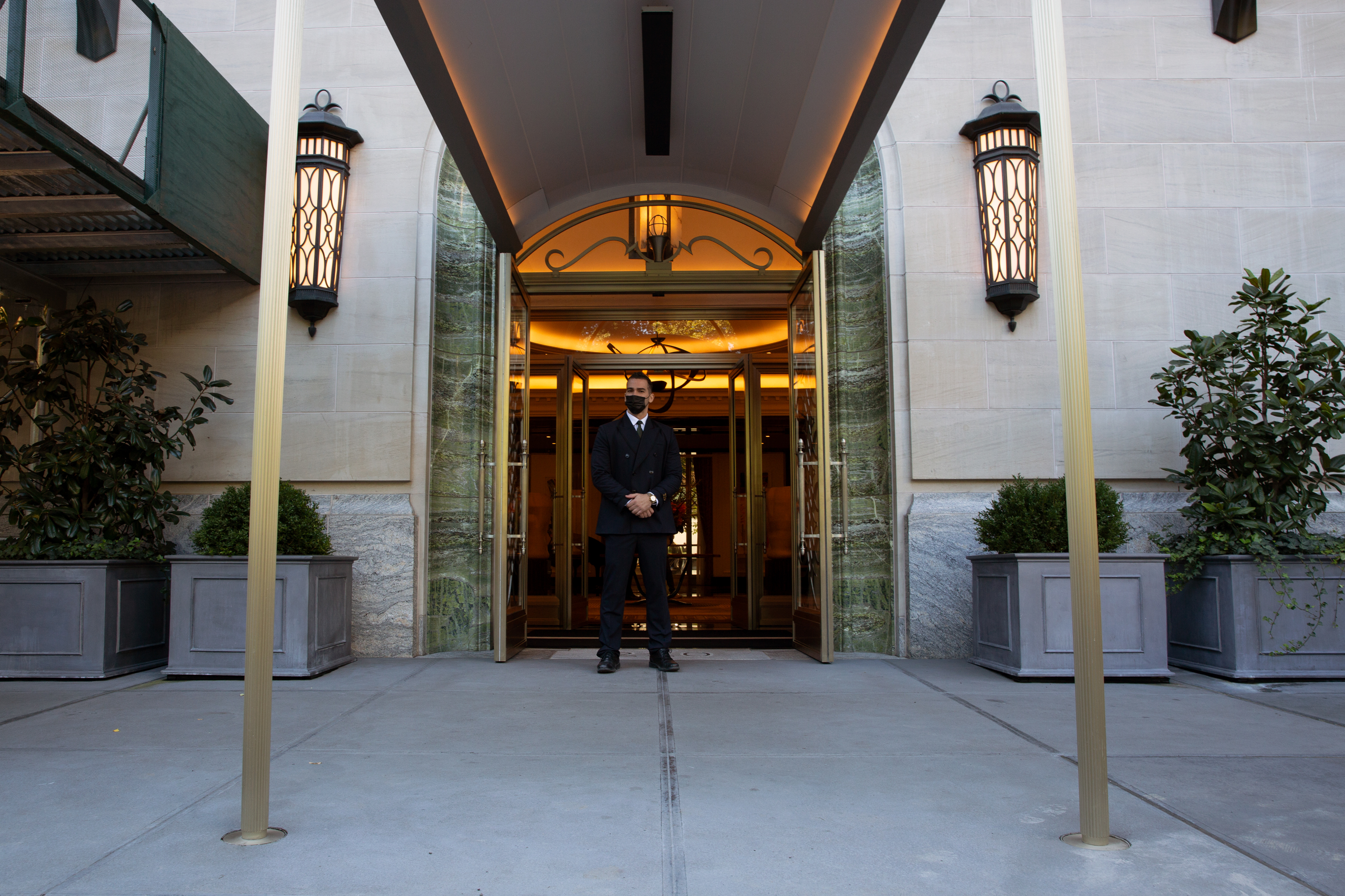 The entry to 220 Central Park South, Oct. 8, 2020.