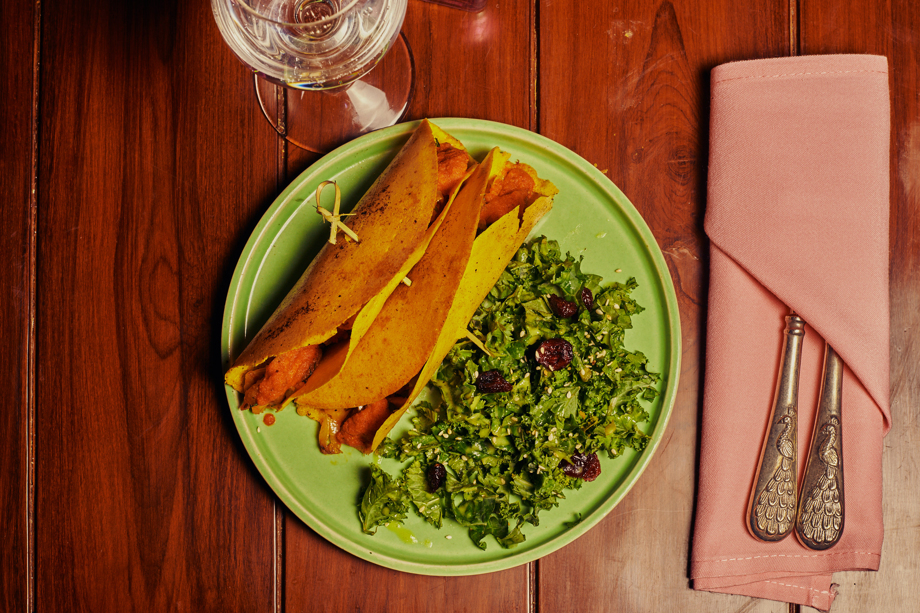 A plate of jackfruit tacos at New York's GupShup