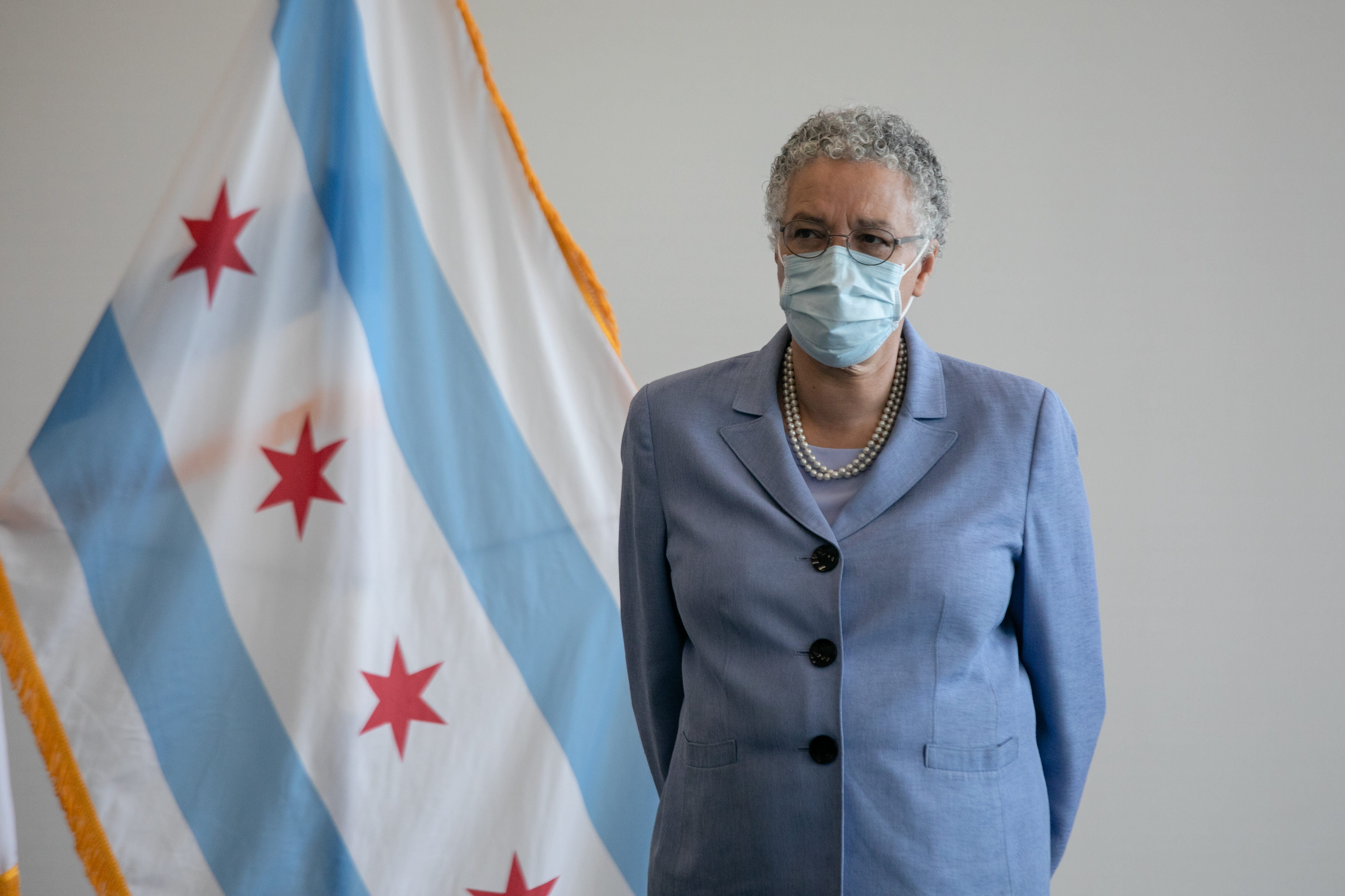 Cook County Board President Toni Preckwinkle attends a news conference at Cook County Health's Professional Building in July.
