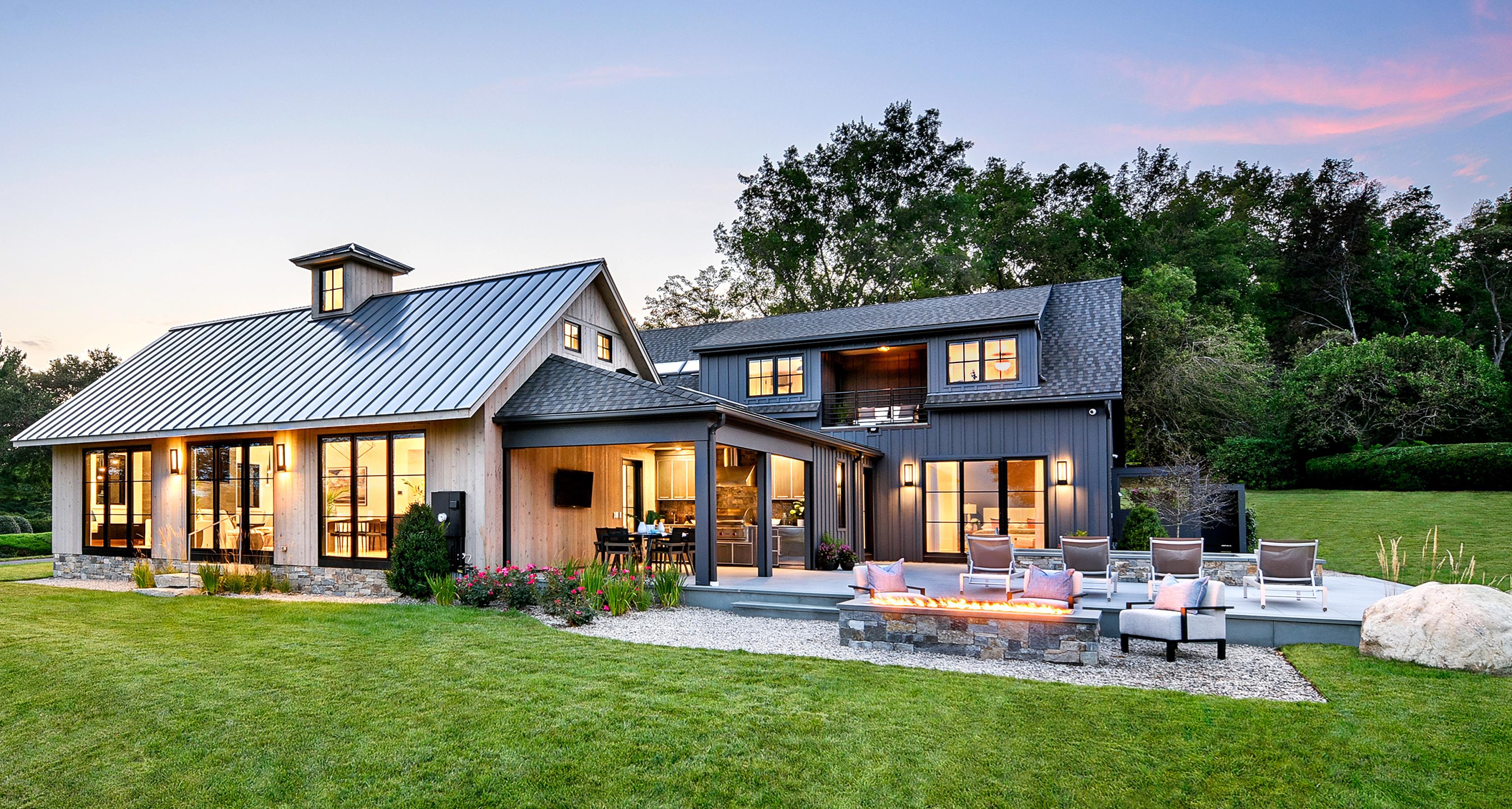 Fairfield Farmhouse, Idea House 2020, exterior evening, Nov/Dec 2020