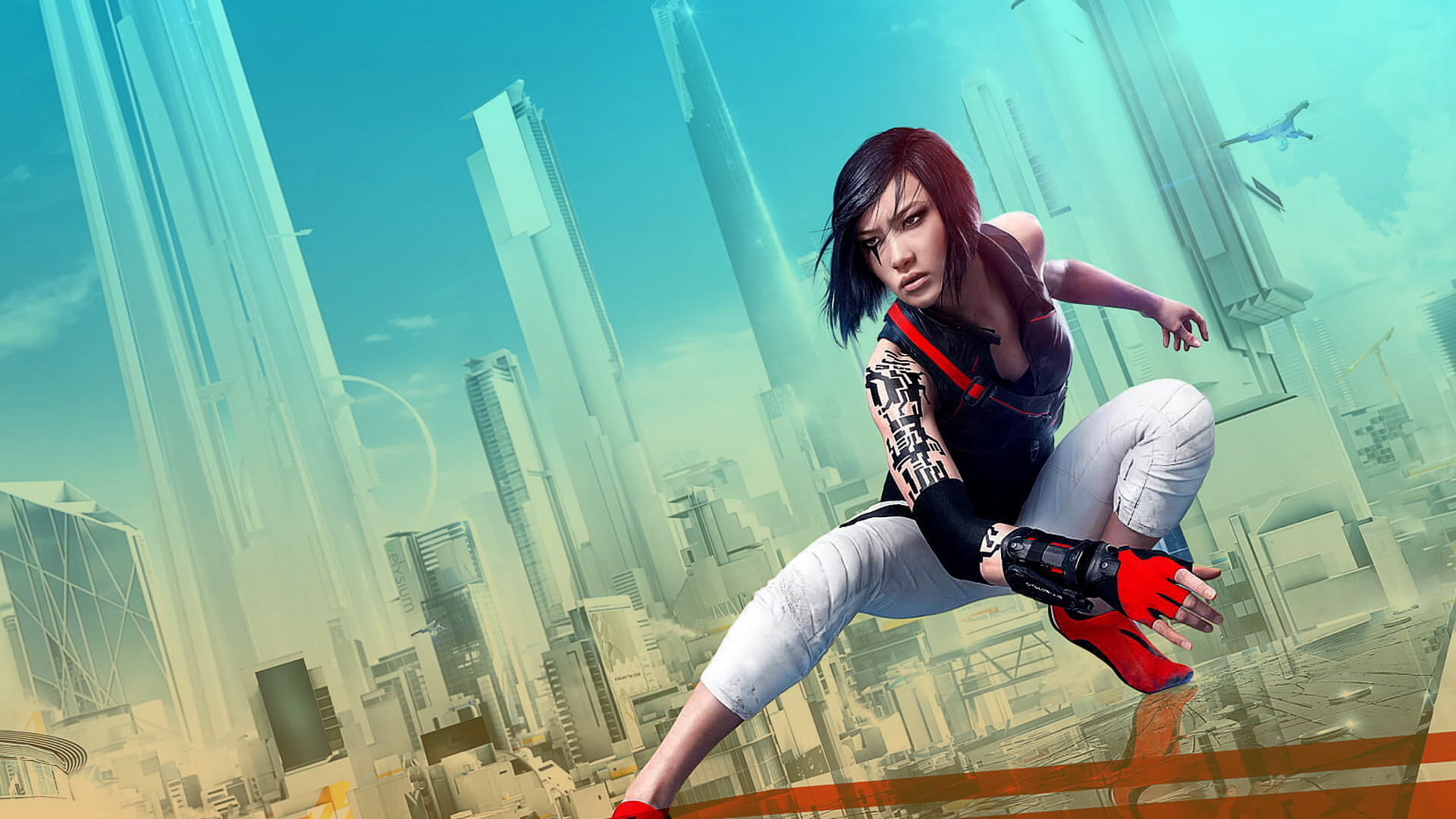 A women crouches down ready for action in front of the skyline of a futuristic city