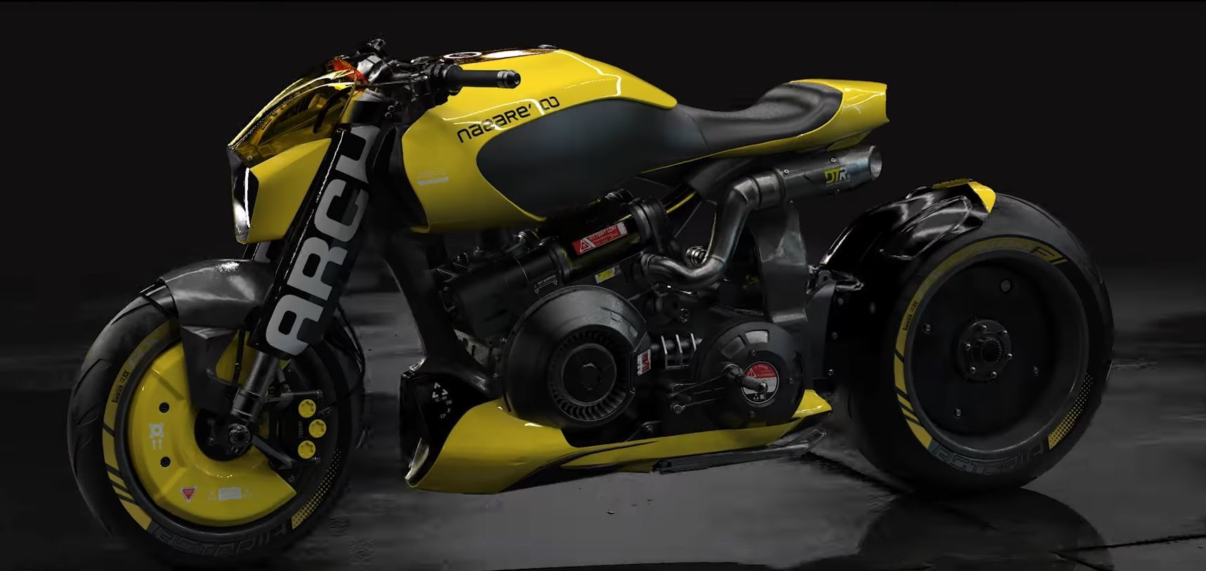 The in-game render of a futuristic Arch Motorcycle in Cyberpunk 2077