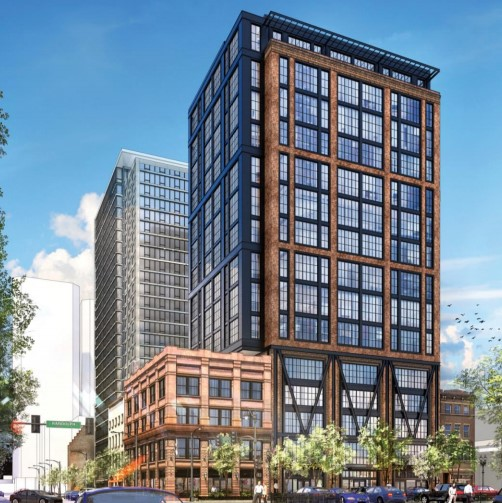 A rendering shows a planned office building at 609 W. Randolph. The older building on the corner will be preserved.