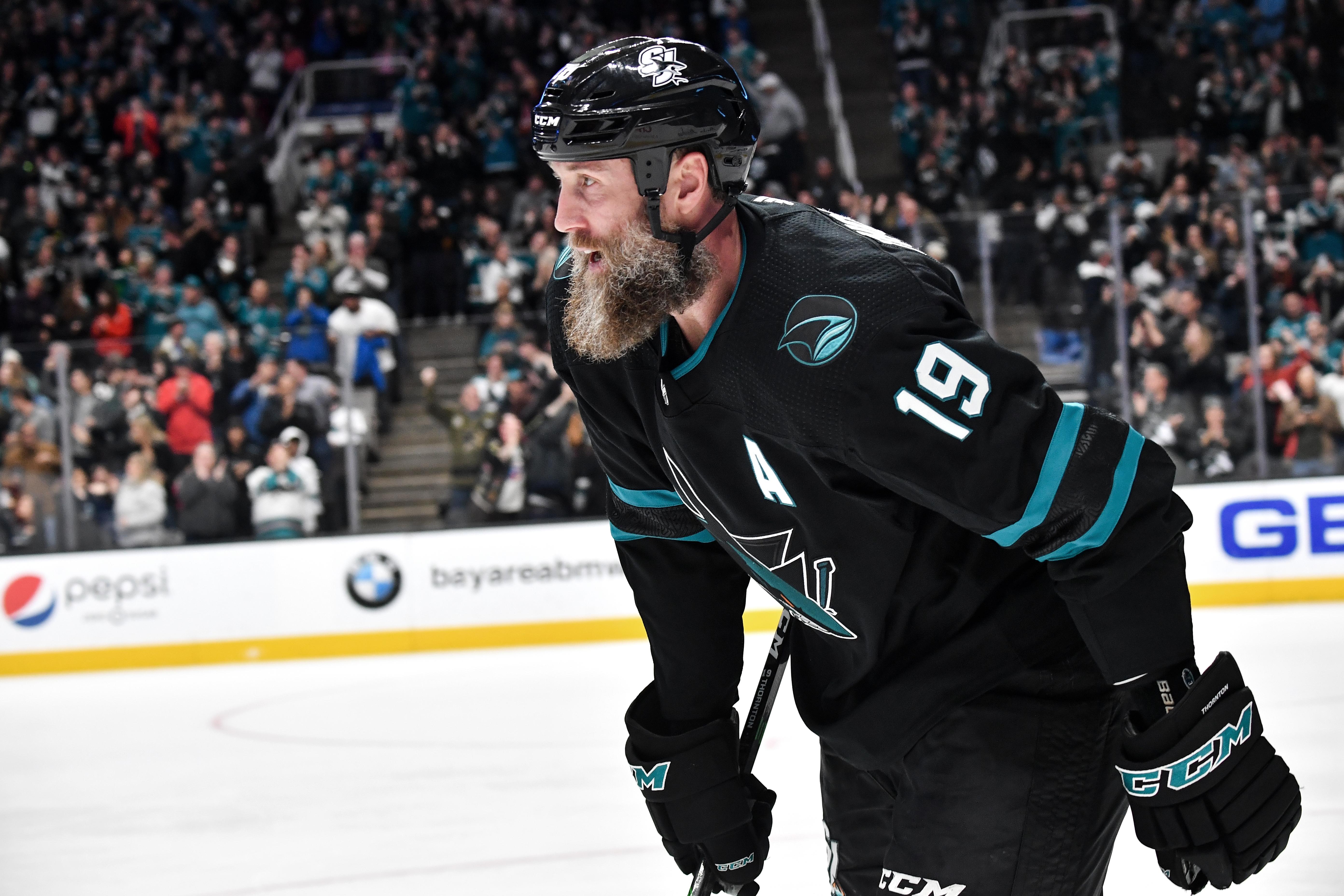 SAN JOSE, CA - DECEMBER 27: Joe Thornton #19 of the San Jose Sharks celebrates scoring a goal against the Los Angeles Kings at SAP Center on December 27, 2019 in San Jose, California.