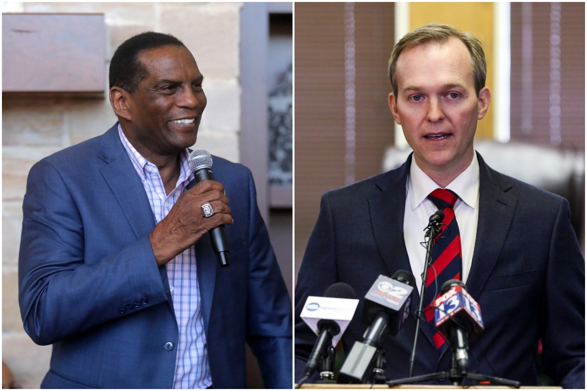 Republican Burgess Owens, a former NFL player, left, and Rep. Ben McAdams, D-Utah, who are running for McAdams' seat in the 4th Congressional District.