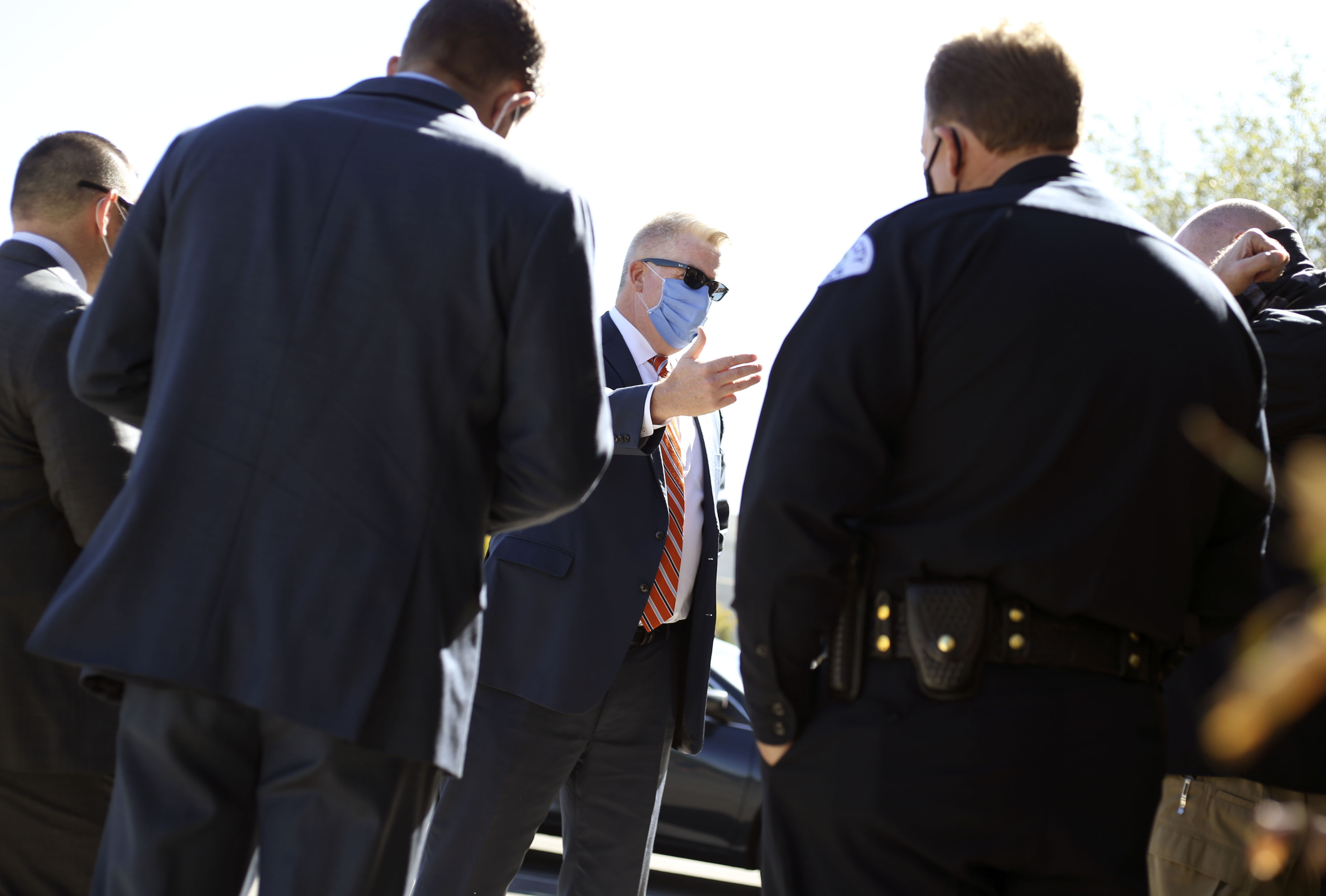 U.S. Attorney John Huber speaks to law enforcement officers before a press conference announcing the arrest of 20 white supremacy gang members and their associates outside the Salt Lake County Sheriff's Office in Salt Lake City on Friday, Oct. 16, 2020.