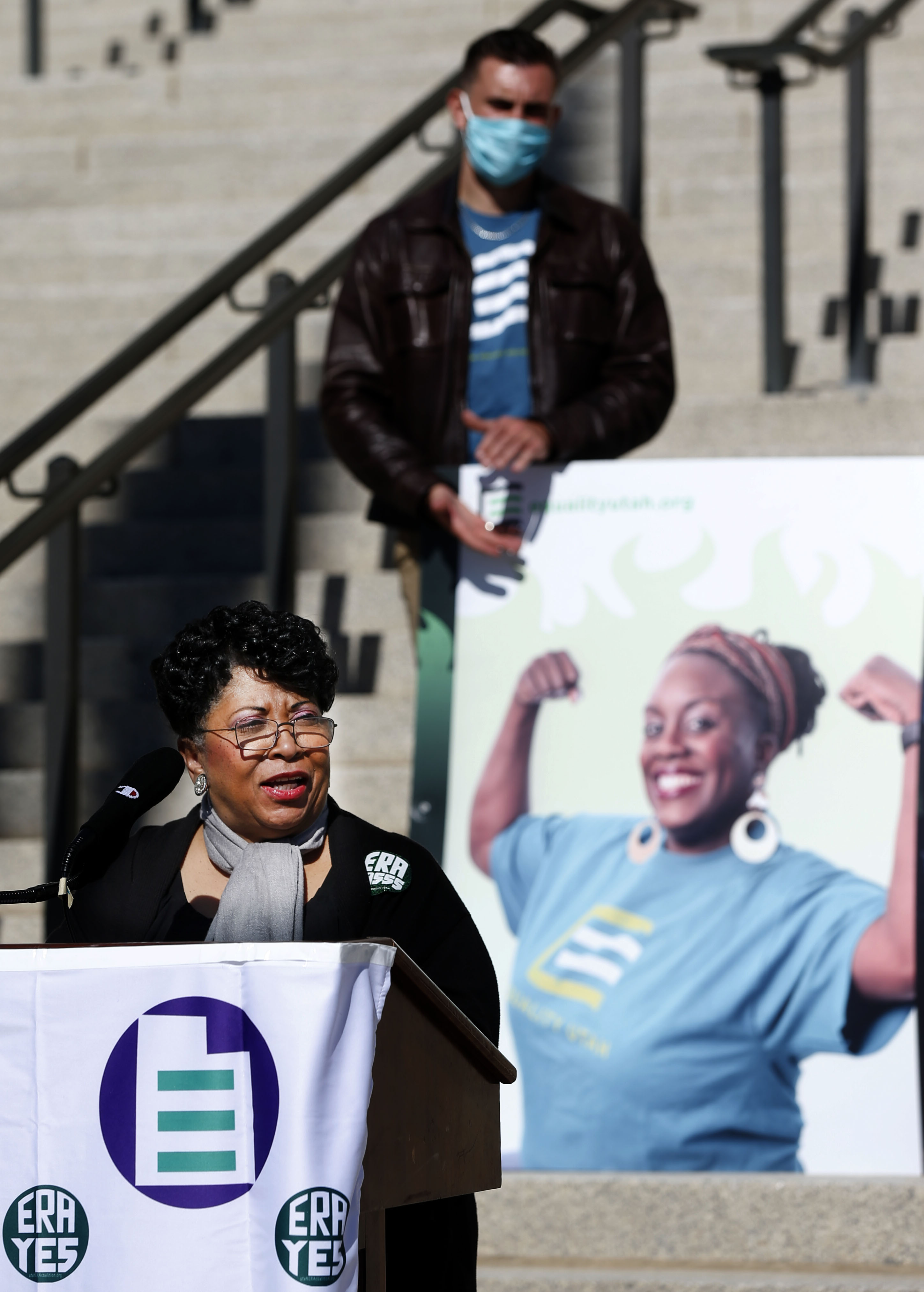 "Jeanetta Williams, president of NAACP Utah, speaks at the ""Vote Equality: Minding the Gaps for Utah Women"" press conference at the Capitol in Salt Lake City on Friday, Oct. 16, 2020."