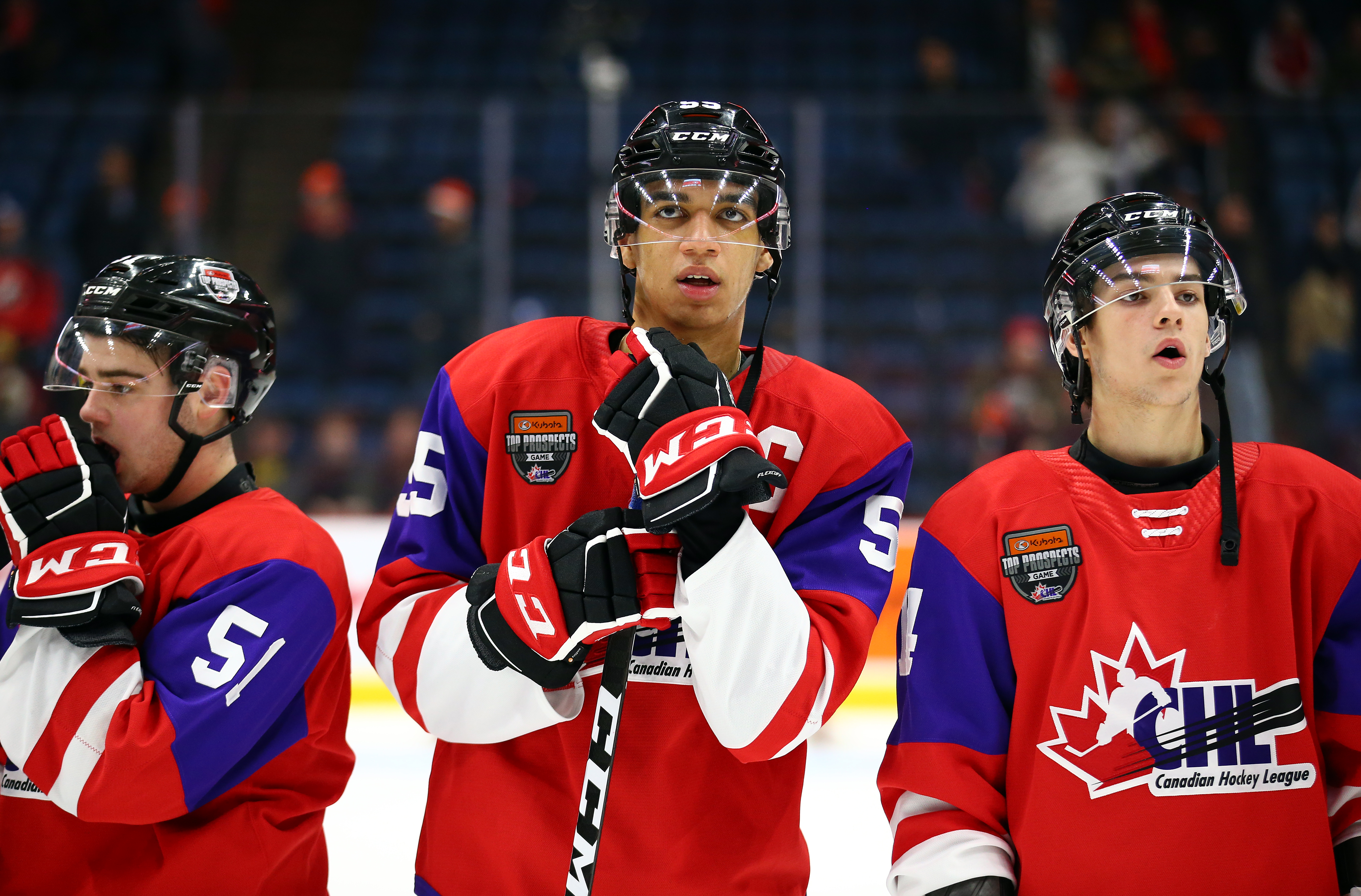 Quinton Byfield #55 of Team Red looks on following defeat to Team White in the 2020 CHL/NHL Top Prospects Game at First Ontario Centre on January 16, 2020 in Hamilton, Canada.