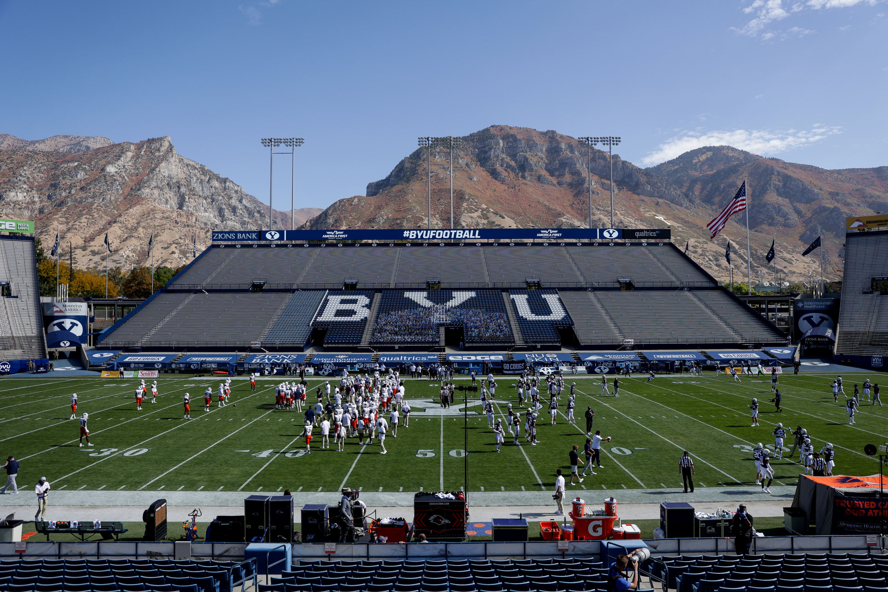 UTSA and BYU warm up before playing a game without fans at LaVell Edwards Stadium in Provo on Saturday, Oct. 10, 2020.