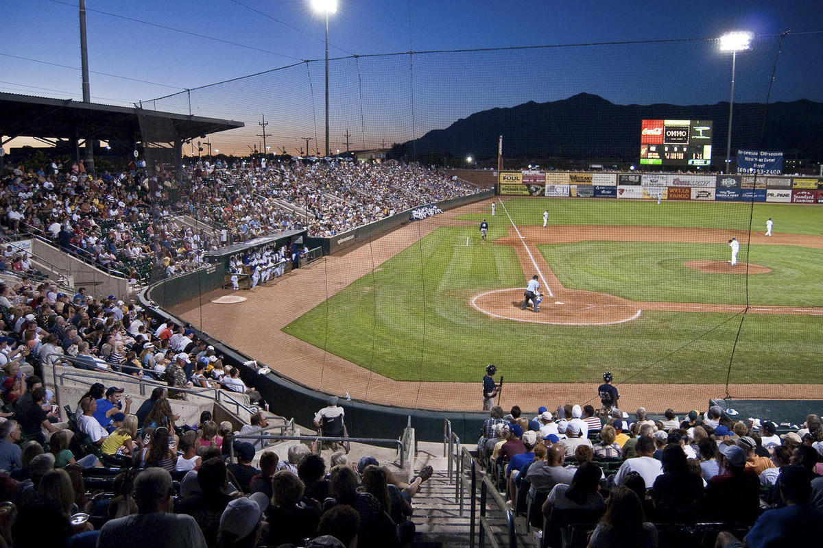 This undated photo courtesy of the Ogden Raptors shows the Raptors at Lindquist Field with the Wasatch Mountain Range in the background in Ogden, Utah.